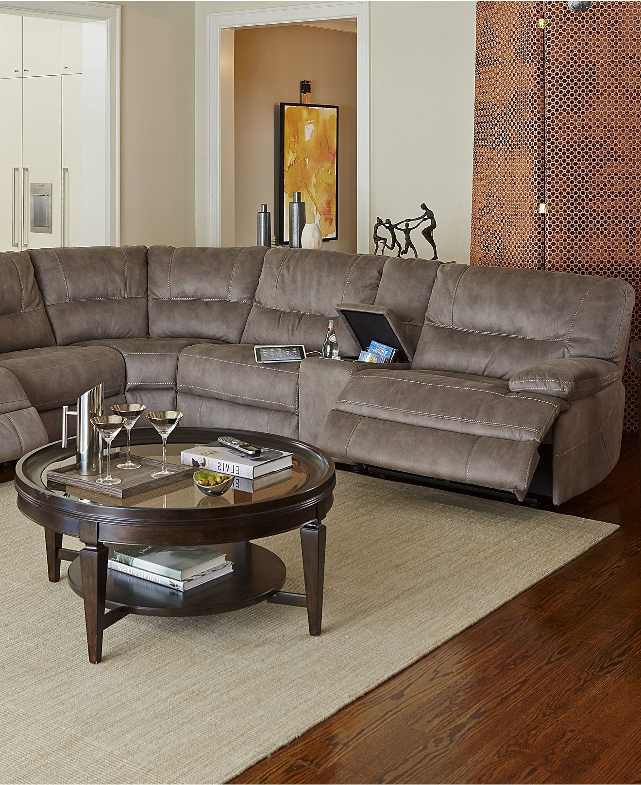 Featured Photo of Jedd Fabric Reclining Sectional Sofas