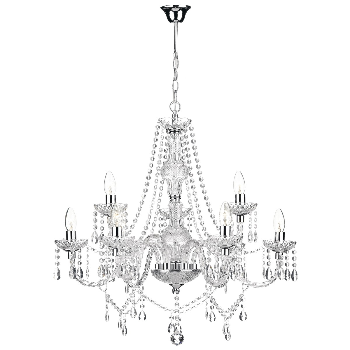 Most Up To Date Katie 9 Light Chandelier Polished Chrome Acrylic Glass Inside Chrome And Glass Chandelier (View 8 of 15)
