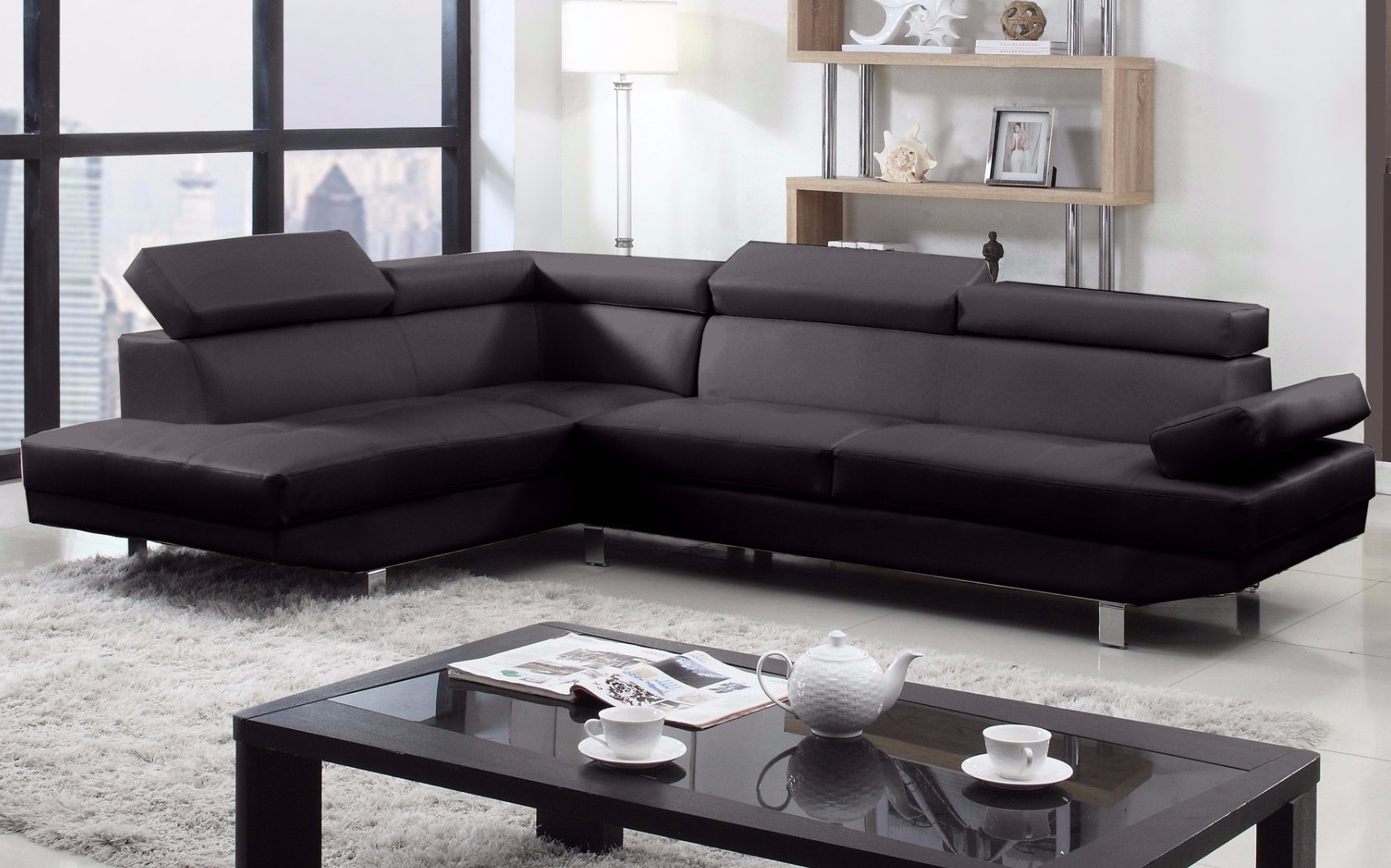 Most Up To Date Modern Chaise Sofas Intended For 2 Piece Modern Bonded Leather Right Facing Chaise Sectional Sofa (View 5 of 15)