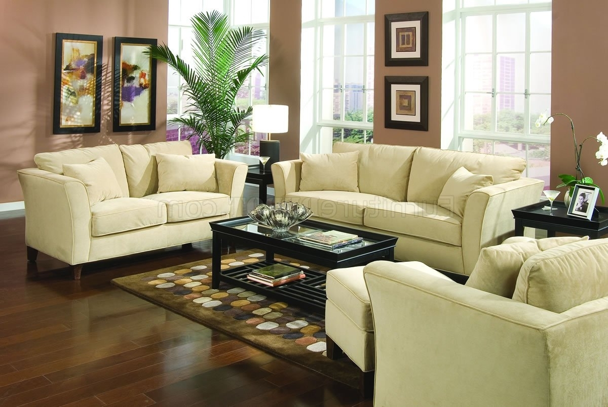 Most Up To Date Park Place Sofa In Cream Velvet Fabric 500231Coaster W/optio Throughout Cream Colored Sofas (View 8 of 15)