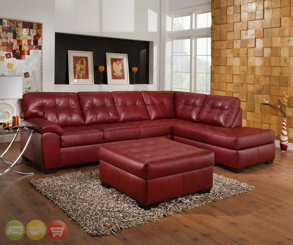 Most Up To Date Red Leather Sectional Couches With Regard To Red Leather Sectional Sofa With Chaise Leather Sectional Sofa Red (View 9 of 15)