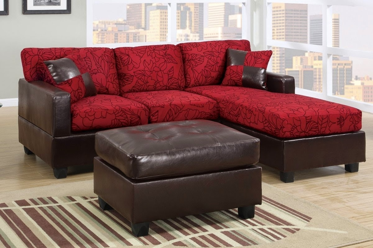 Most Up To Date Red Sectional Sofas With Ottoman With Regard To Glamorous Genuine Leather Chesterfield Sofa As Well As Modern (View 10 of 15)