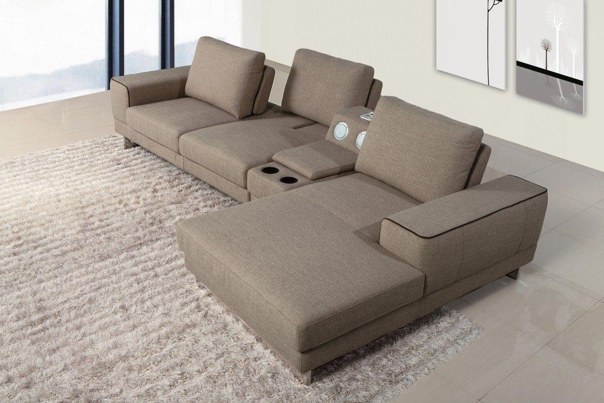 Most Up To Date Sectional Sofas With Consoles With Regard To Gatsby Modern Fabric Sectional Sofa W/ Beverage Console And (View 5 of 15)