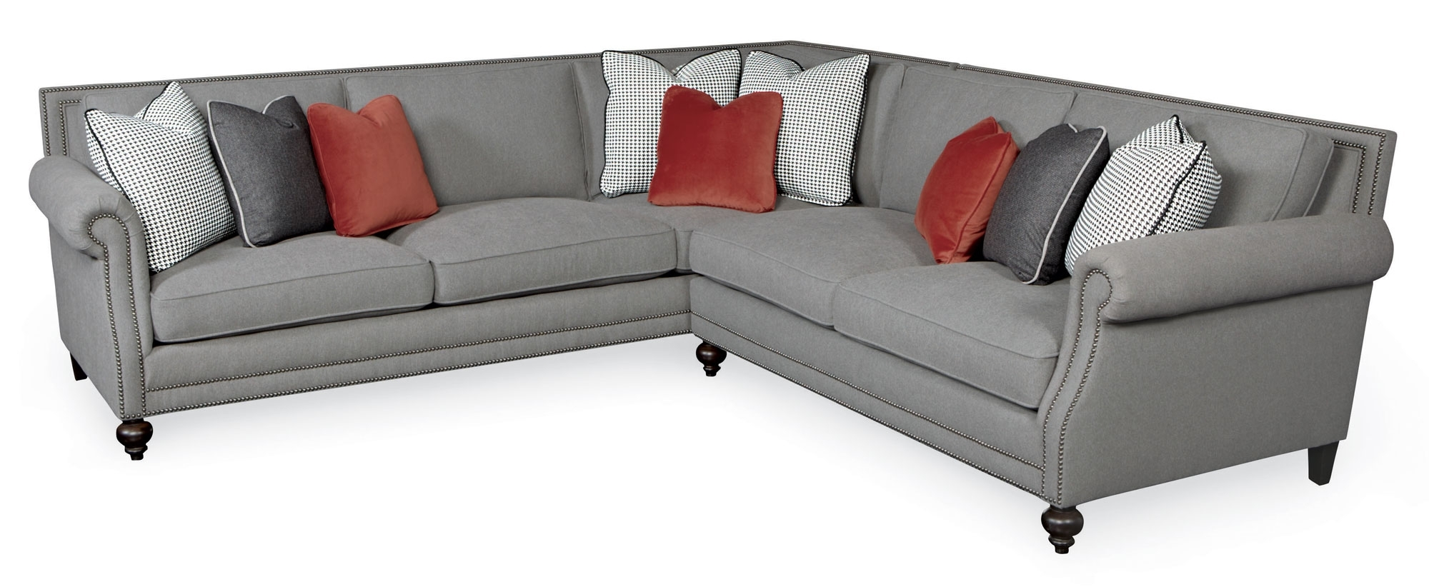 Most Up To Date Sectional Sofas With Nailheads For Sectional Sofa Design: Nailhead Sectional Sofa Fabric Leather (View 6 of 15)