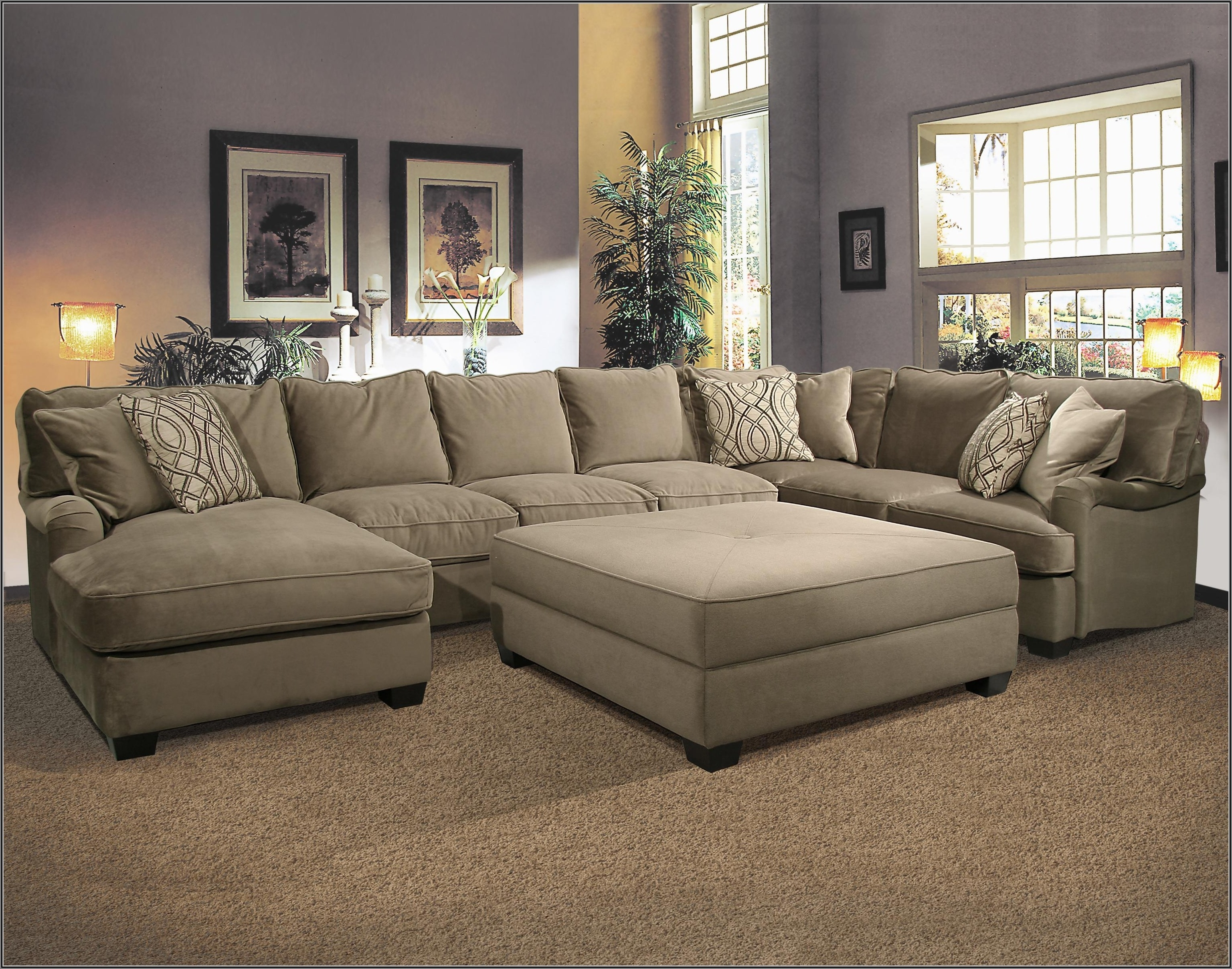 Most Up To Date Sectional Sofath Oversized Ottoman Chenille Fabric Matching Pertaining To Sectional Sofas With Oversized Ottoman (View 3 of 15)
