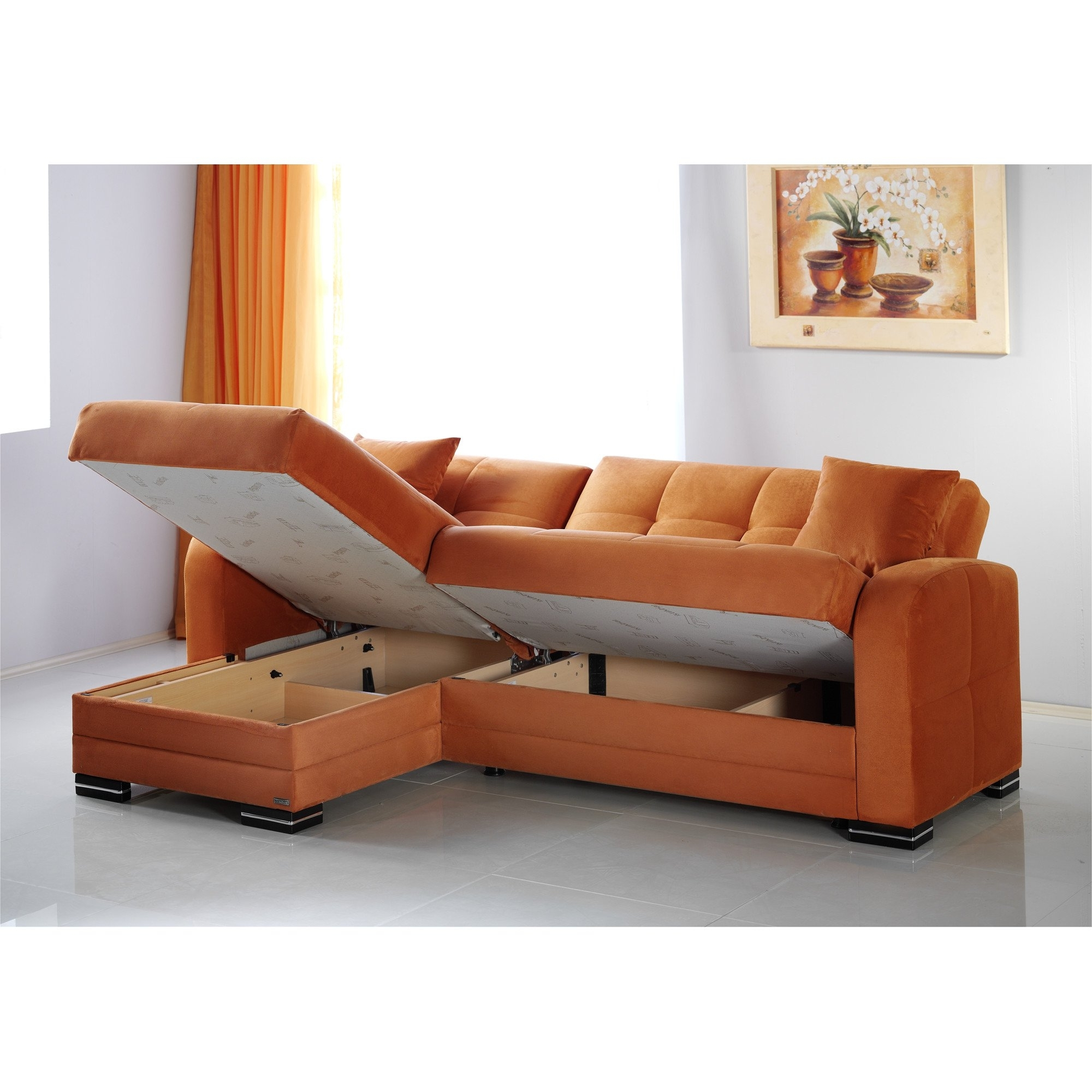Most Up To Date Sofas With Reversible Chaise Throughout Kubo Rainbow Orange Sectional Sofasunset (View 9 of 15)