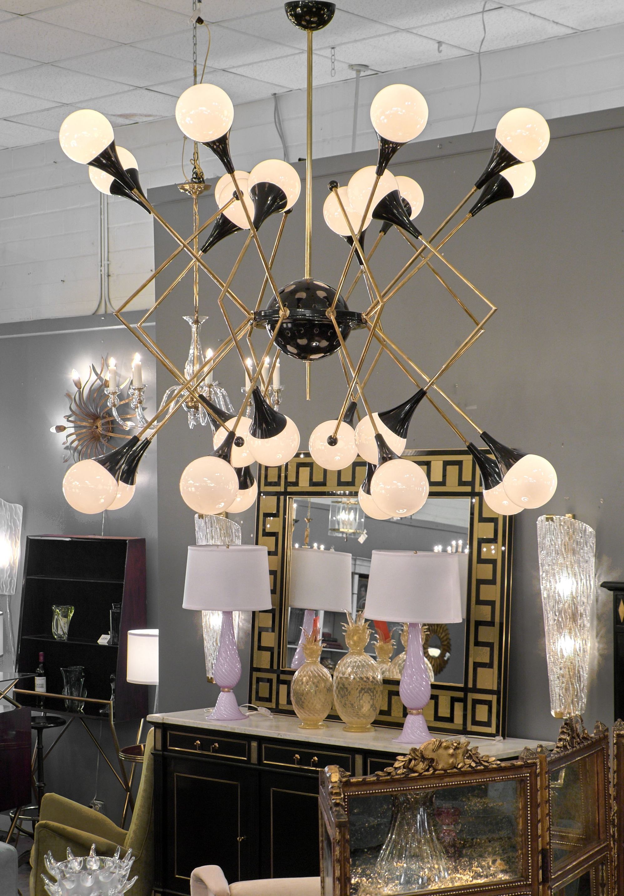 Most Up To Date Stilnovo Style Murano Glass And Brass Chandelier – Jean Marc Fray With Regard To Branched Chandelier (View 7 of 15)