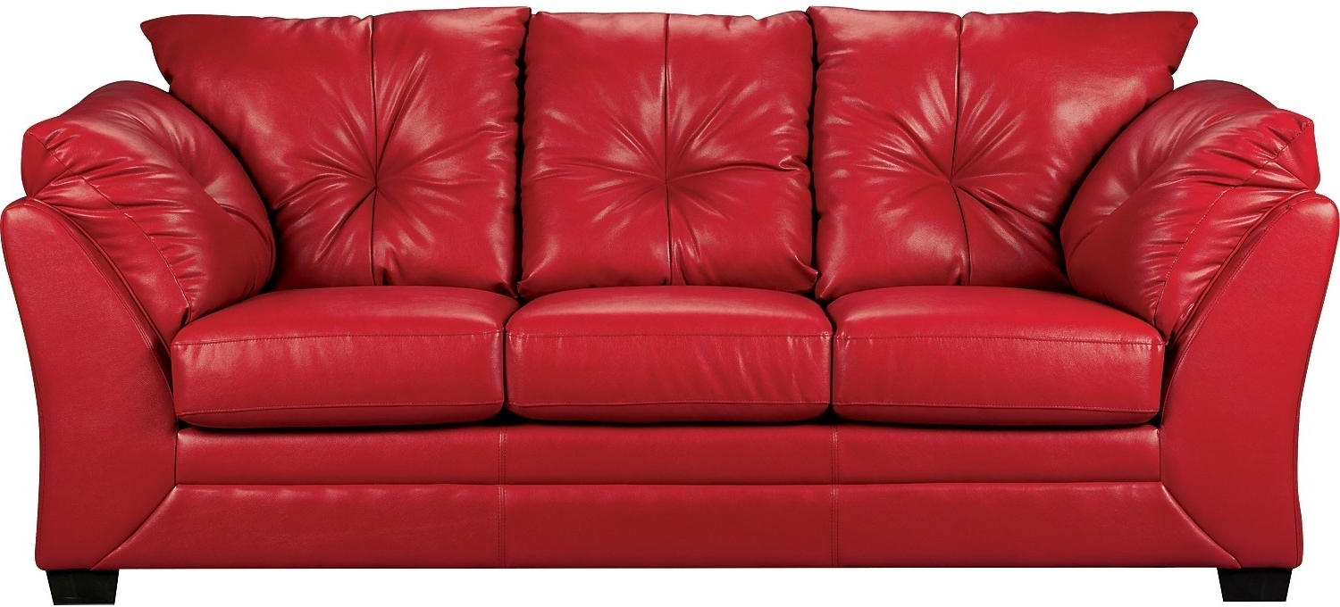 Most Up To Date The Brick Leather Sofas Inside Red Faux Leather Sofa – Home And Textiles (View 6 of 15)