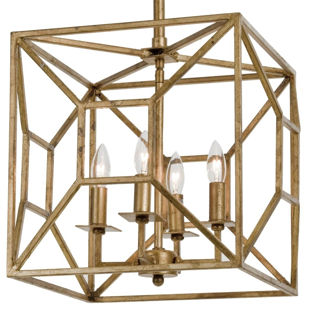 Most Up To Date Tippi Hollywood Regency Gold Leaf Geo Cage 4 Light Chandelier In Cage Chandeliers (View 11 of 15)