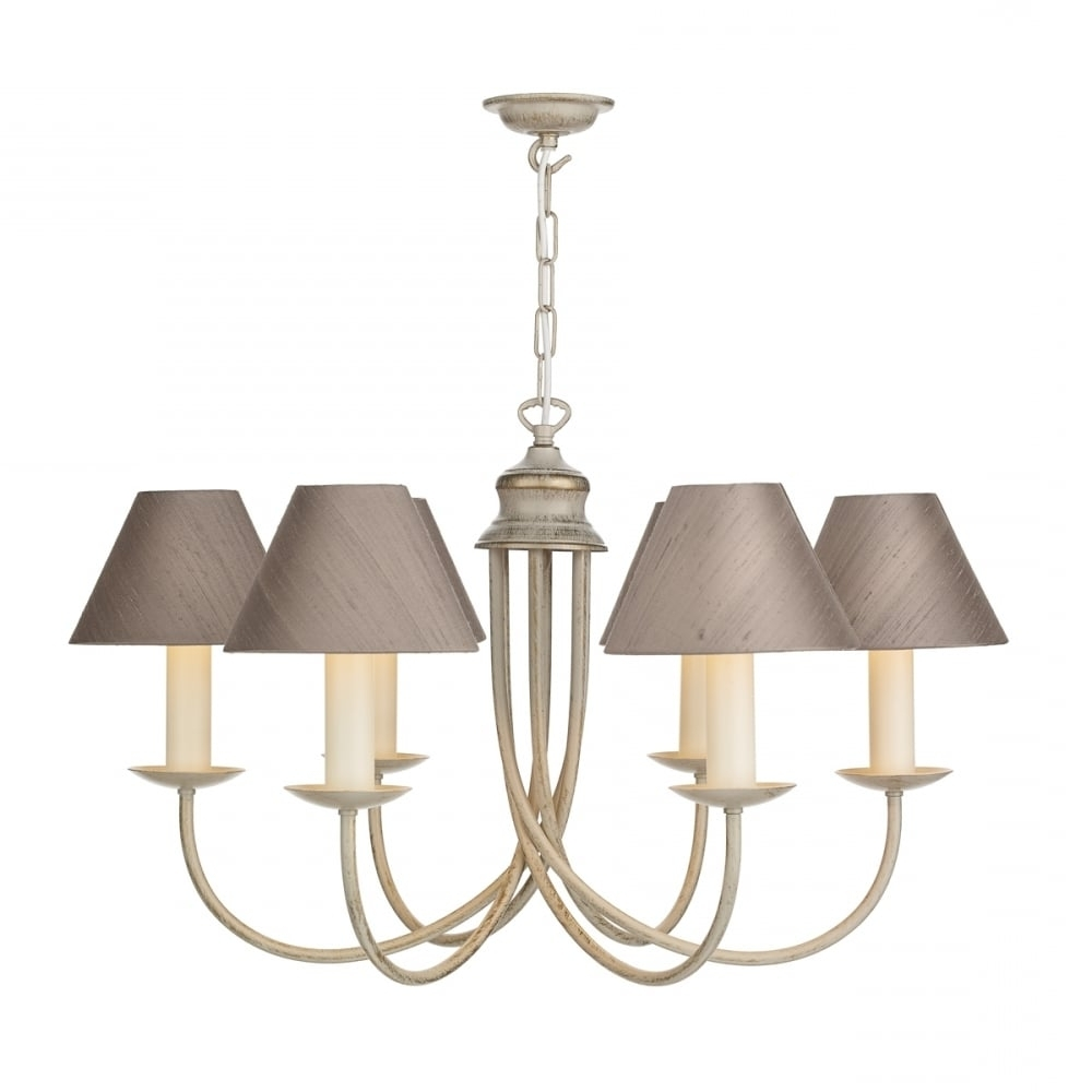 Most Up To Date Traditional Long Drop 5 Light Creamy Gold Chandelier With Silk Shades With Regard To Cream Chandelier (View 9 of 15)