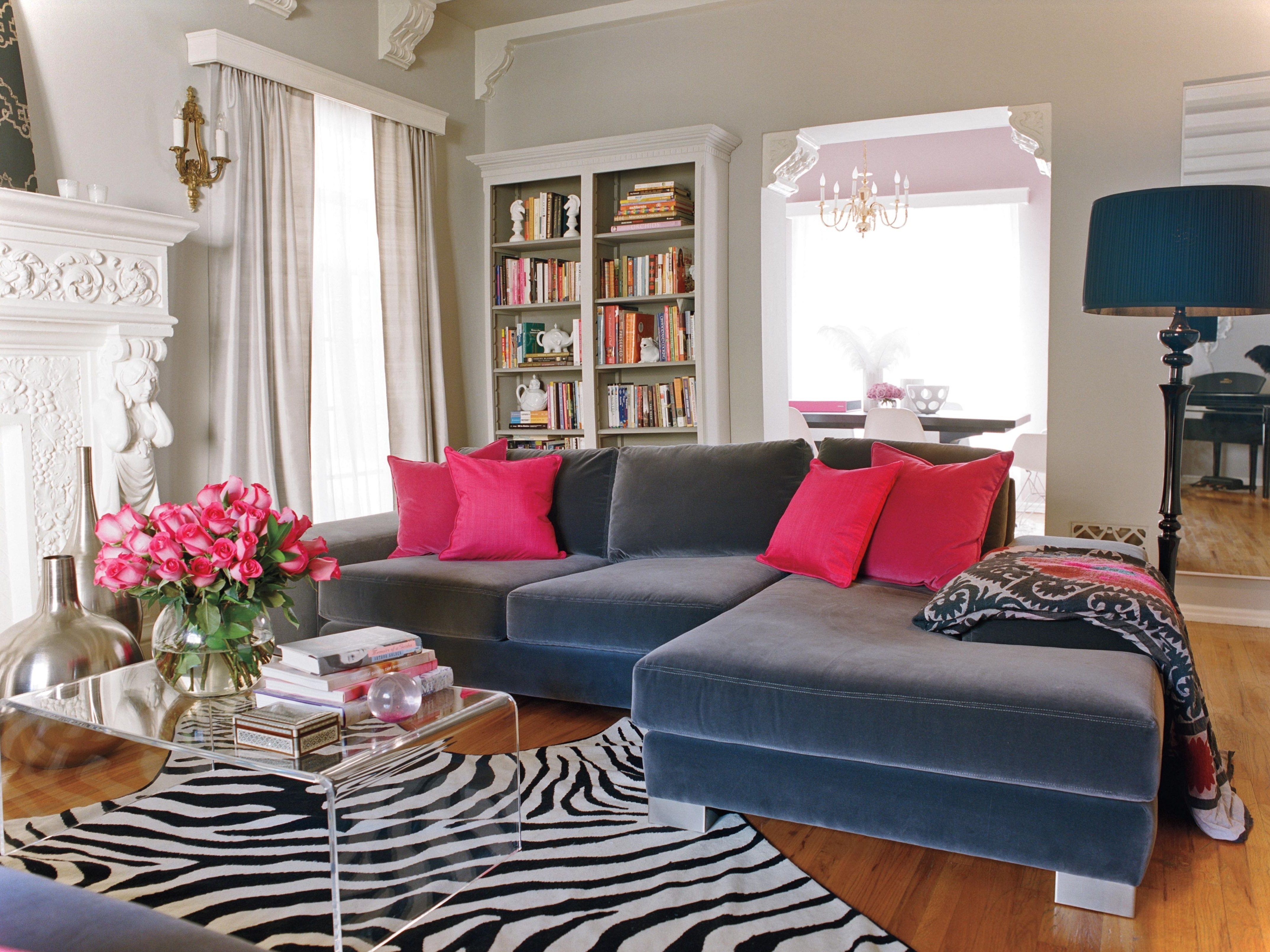 Most Up To Date Velvet Sectional Sofas With Chaise Throughout L Shaped Dark Grey Velvet Sectional Sofa And Square Pink Cushions (View 9 of 15)