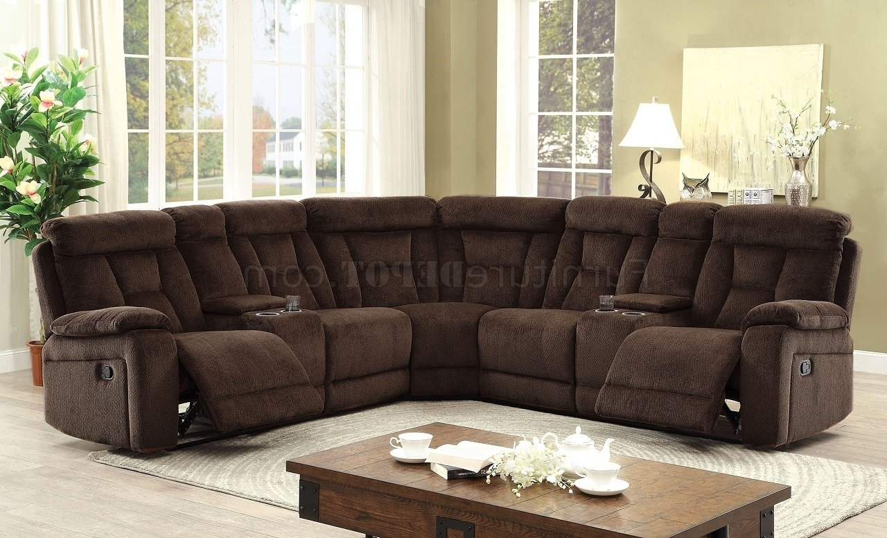Motion Sectional Sofas Within Popular Maybell Motion Sectional Sofa Cm6773Br In Brown Chenille Fabric (View 12 of 15)