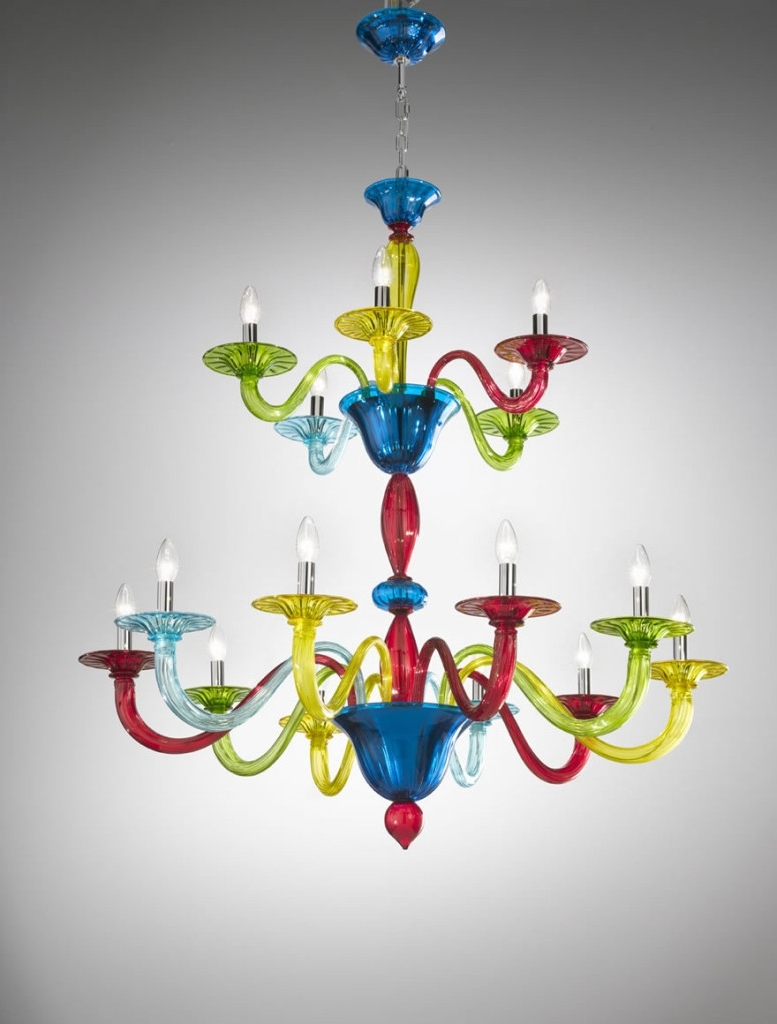 Murano Coloured Glass Chandelier – Art (View 12 of 15)
