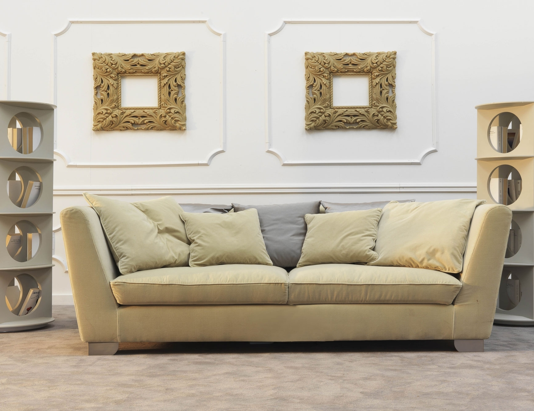 Nella Vetrina Douillet Dou02 Italian Designer Cream Fabric Sofa Regarding Well Liked Sofas And Chairs (View 6 of 15)