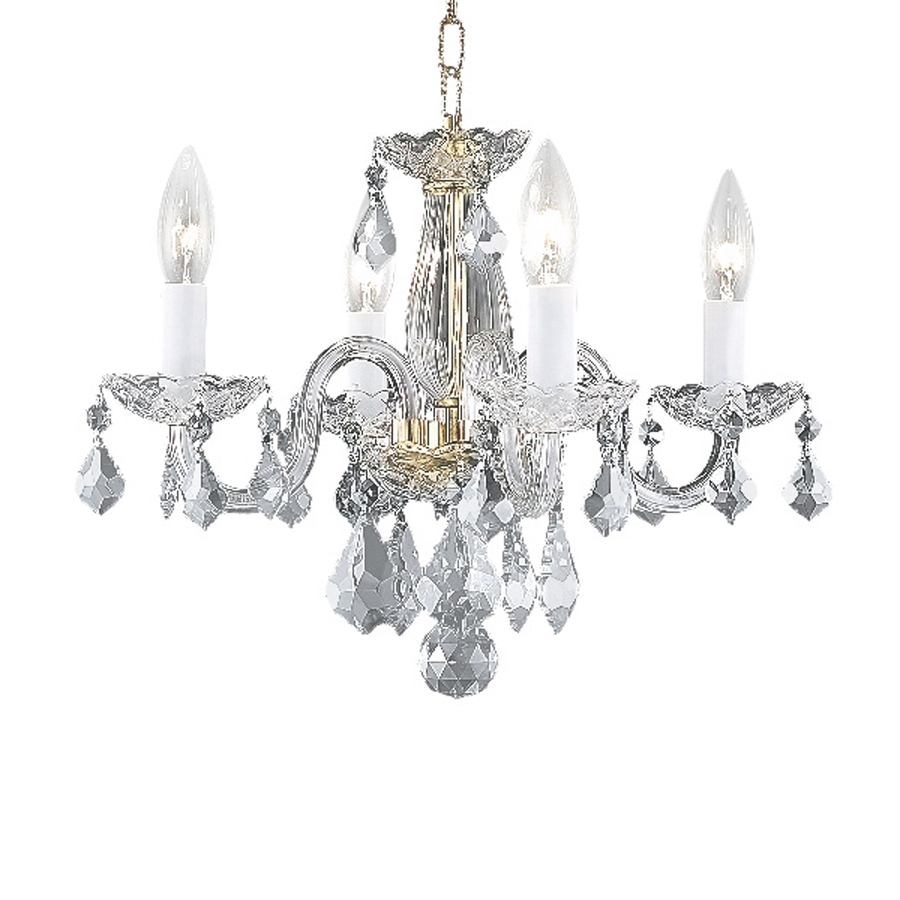 Newest 4 Light Crystal Chandeliers Pertaining To Shop Elegant Lighting Rococo 15 In 4 Light Gold Crystal Crystal (View 11 of 15)