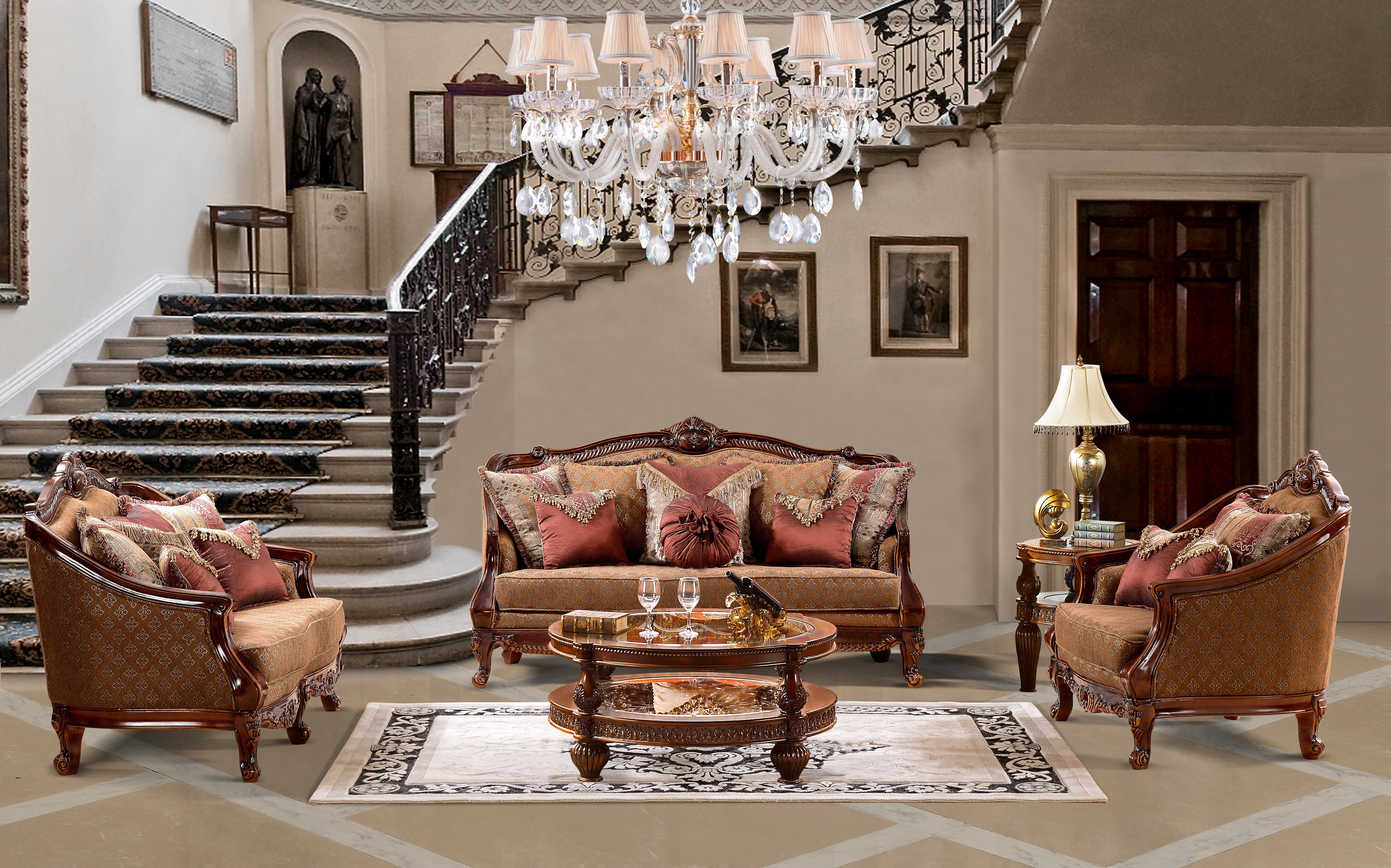 Newest 904 Homey Design Traditional Sofa Set Pertaining To Traditional Sofas And Chairs (View 6 of 15)
