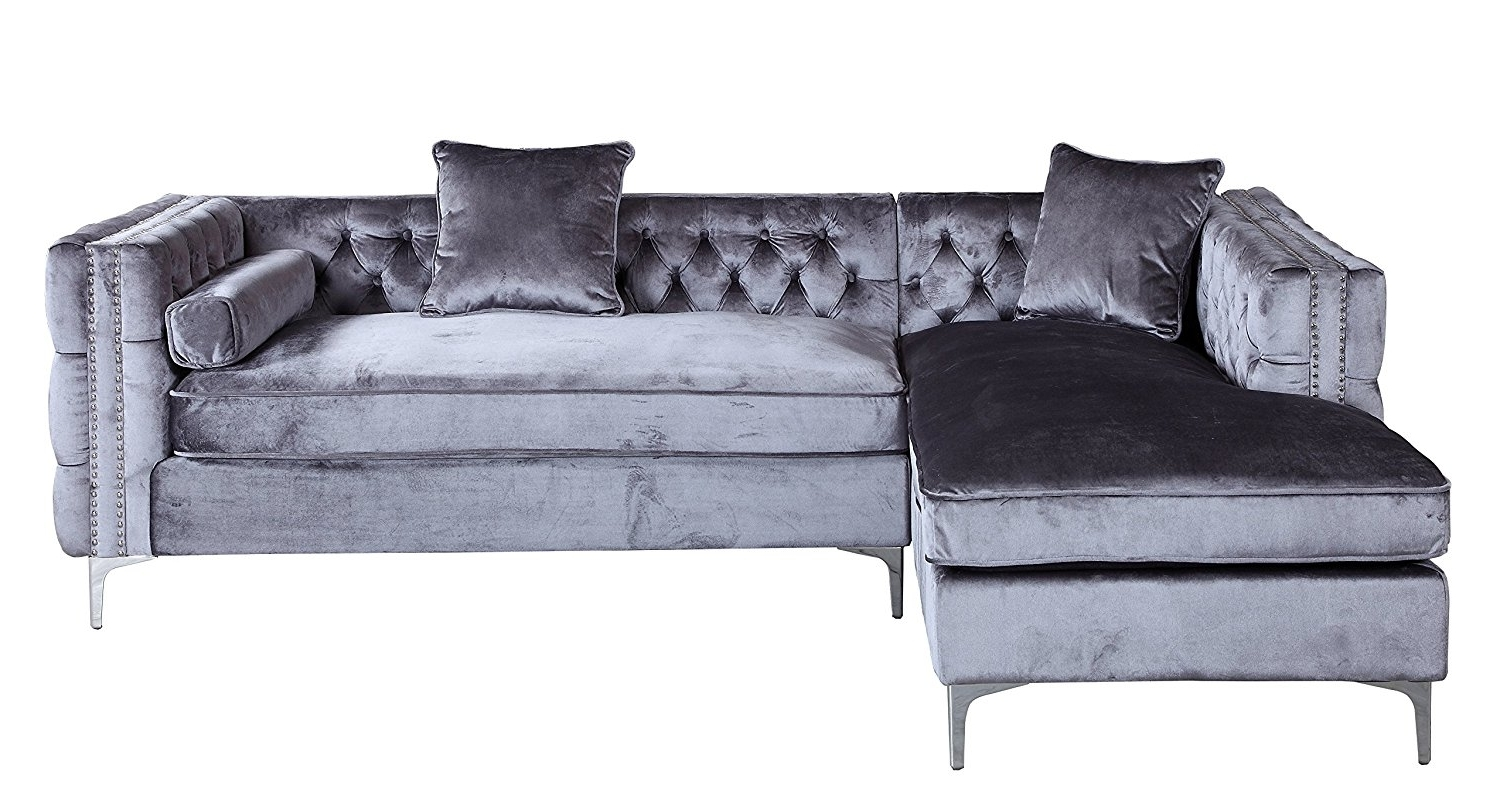 Newest Amazon: Iconic Home Da Vinci Tufted Silver Trim Grey Velvet Pertaining To Velvet Sectional Sofas (View 10 of 15)
