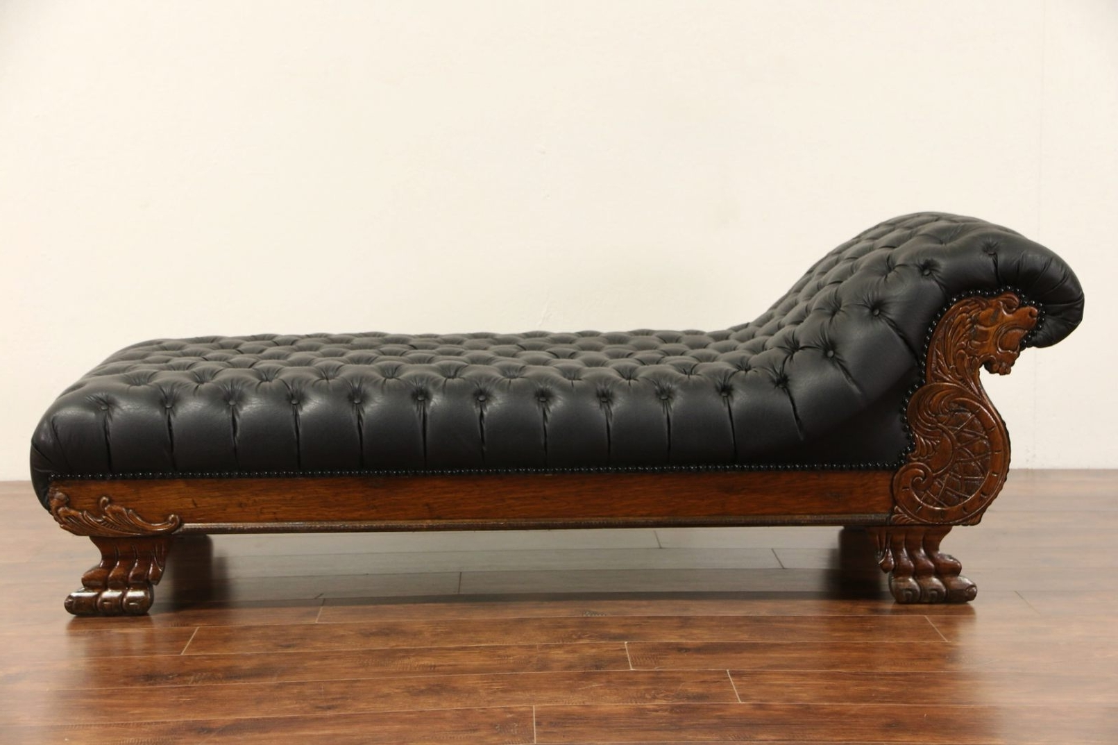 Newest Antique Chaise Lounges Inside Victorian Lion Carved 1900 Antique Oak Chaise Lounge Or (View 12 of 15)