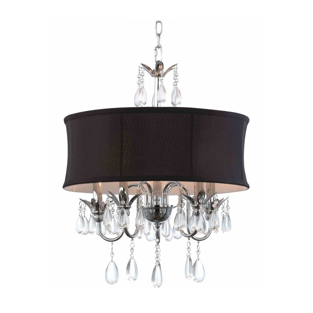 Newest Black Chandeliers With Shades Intended For Black Drum Shade Crystal Chandelier Pendant Light (View 11 of 15)