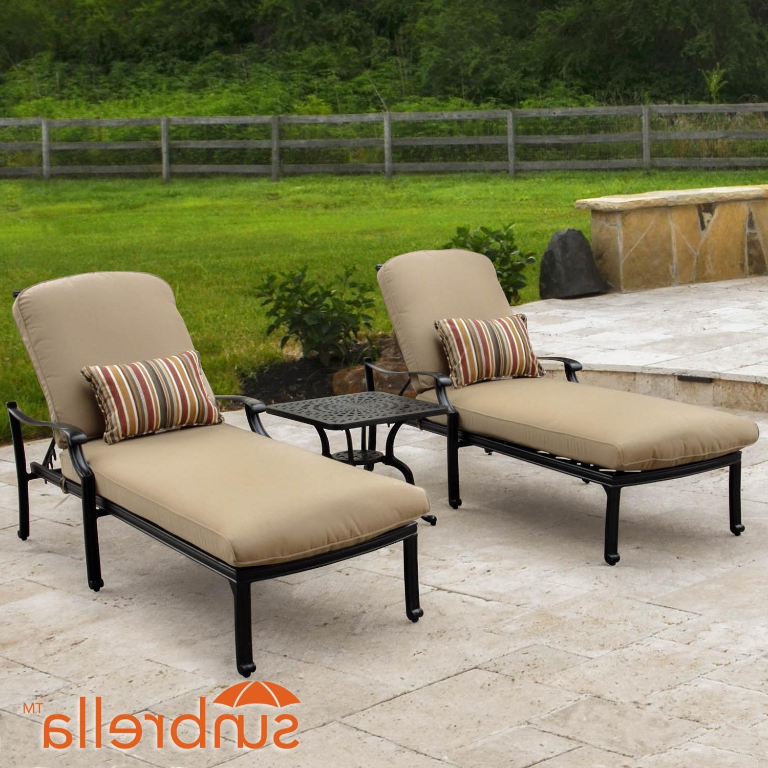 Newest Bocage 3 Piece Cast Aluminum Patio Chaise Lounge Set W/ Sunbrella In Patio Chaise Lounges (View 8 of 15)