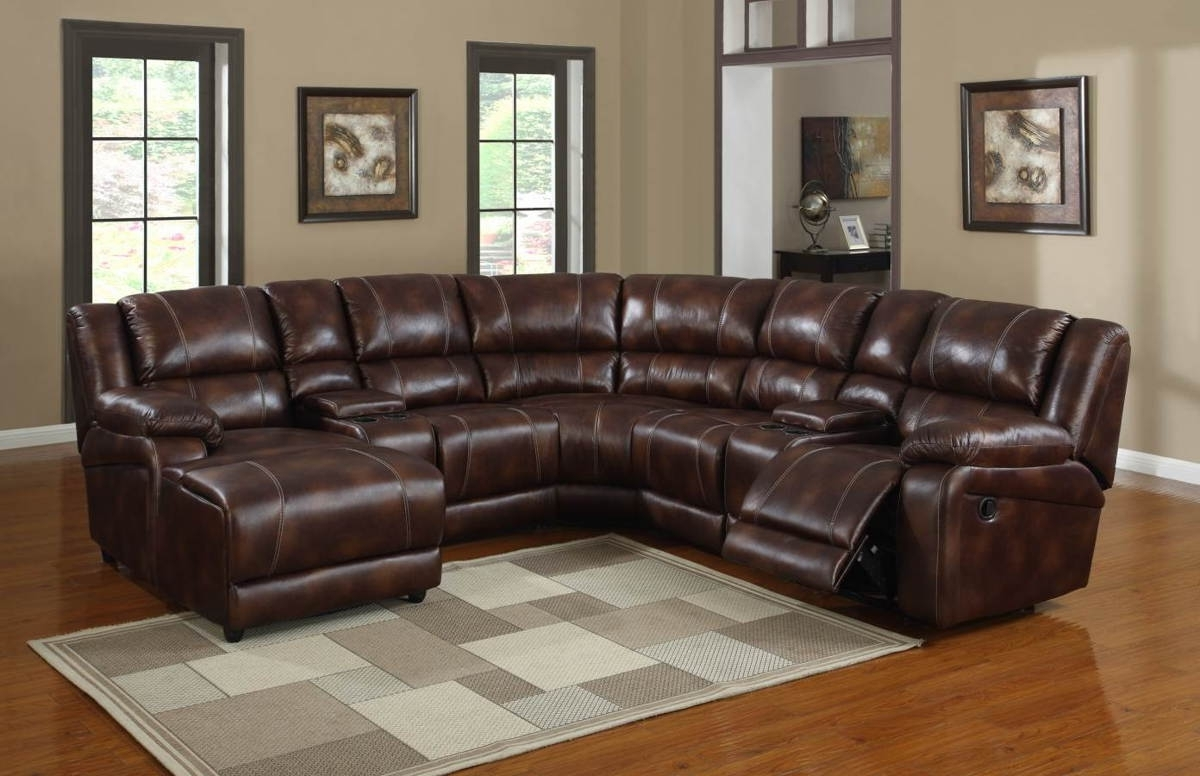 Newest Brown Leather Sectionals With Chaise Within Elegant Brown Leather Corner Sectional With Recliner And Chaise Of (View 9 of 15)