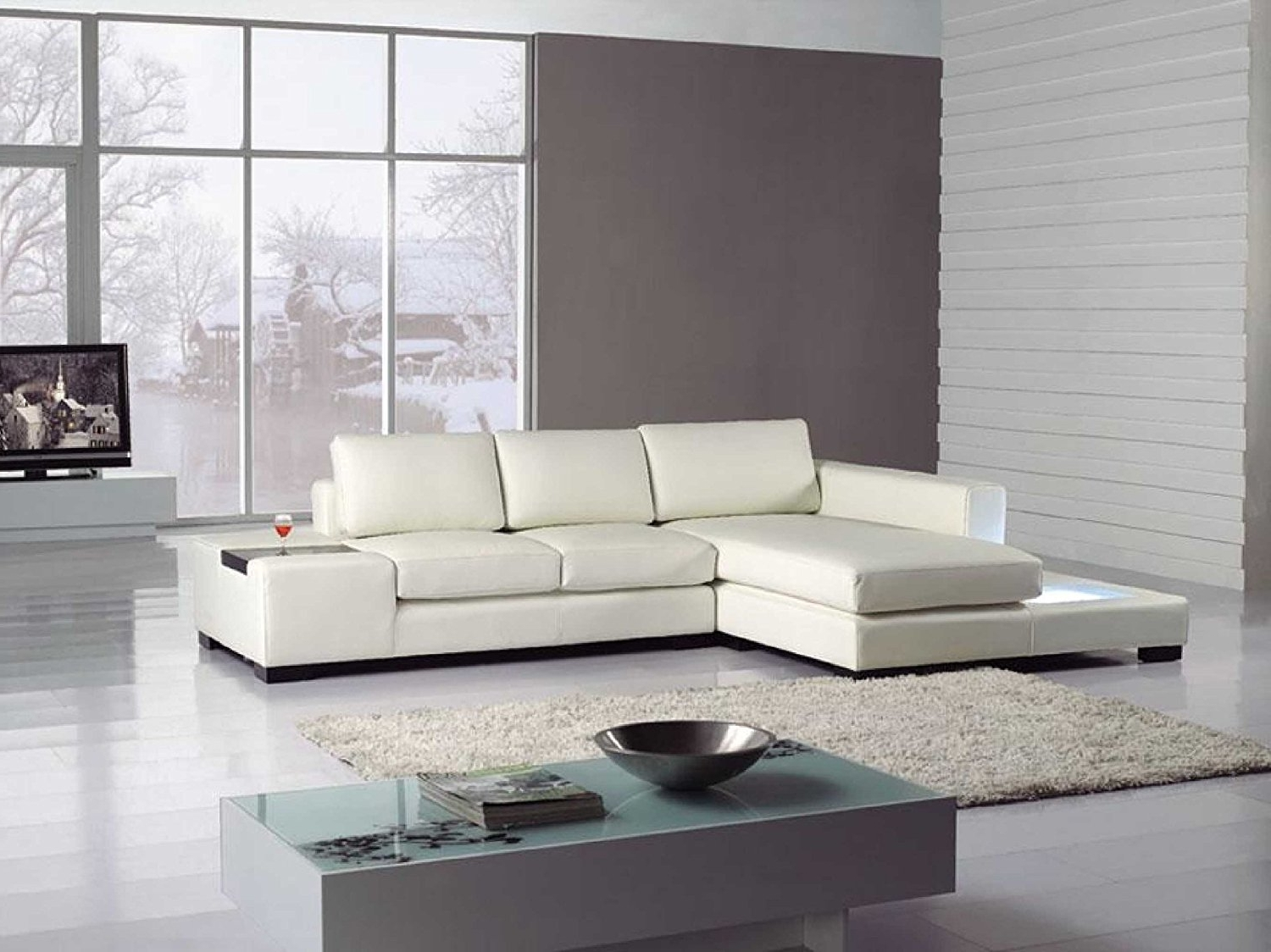 Newest Canada Sale Sectional Sofas Throughout Amazon: T35 Mini White Bonded Leather Sectional With Light (View 12 of 15)