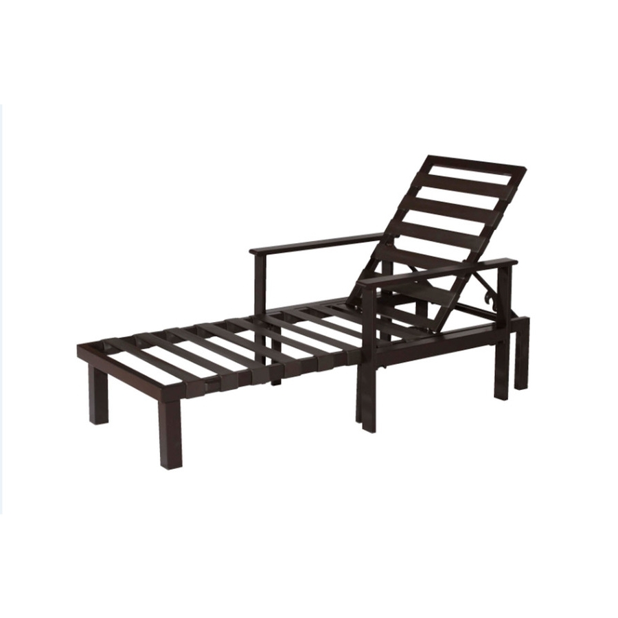 Newest Chaise Lounge Chairs At Lowes Pertaining To Shop Allen + Roth Modular Slat Steel Patio Chaise Lounge At Lowes (View 11 of 15)