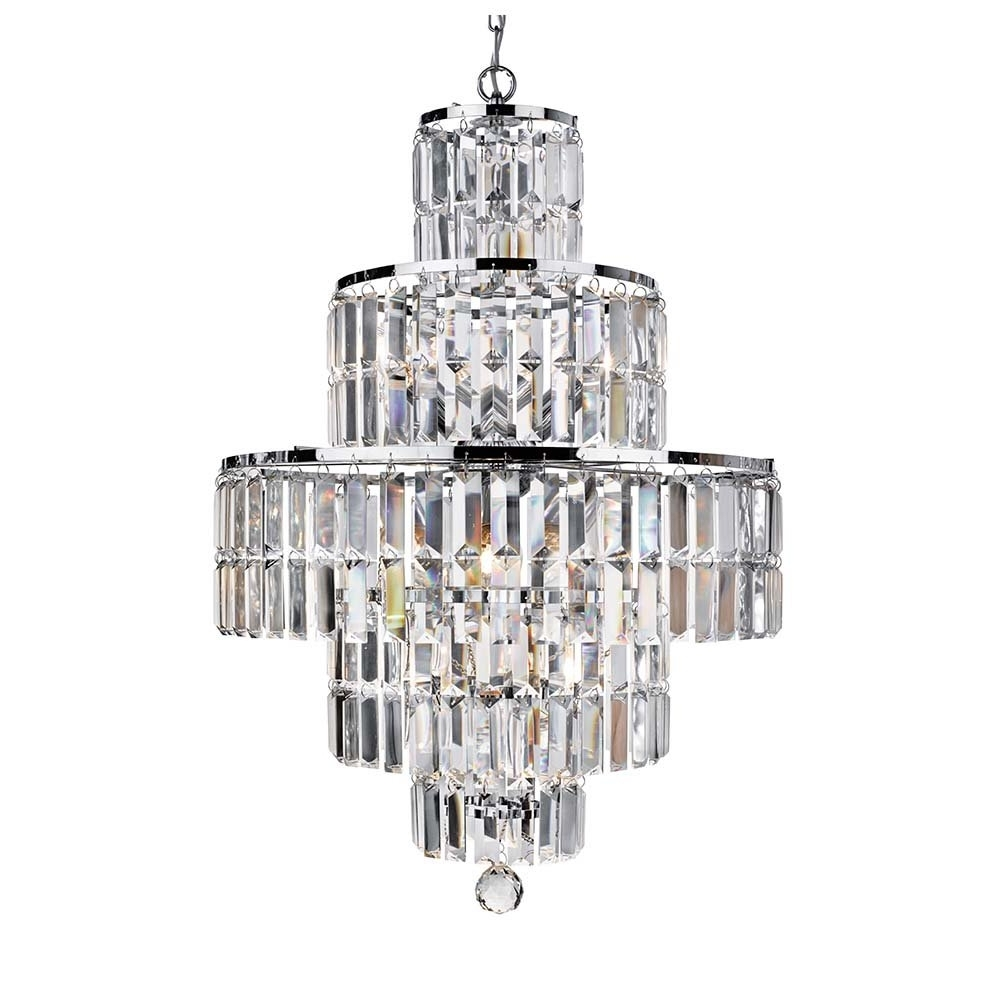 Newest Chrome And Glass Chandelier Within 1400Cc Empire 5 Light Chrome Chandelier With Clear Bevelled Glass (View 9 of 15)