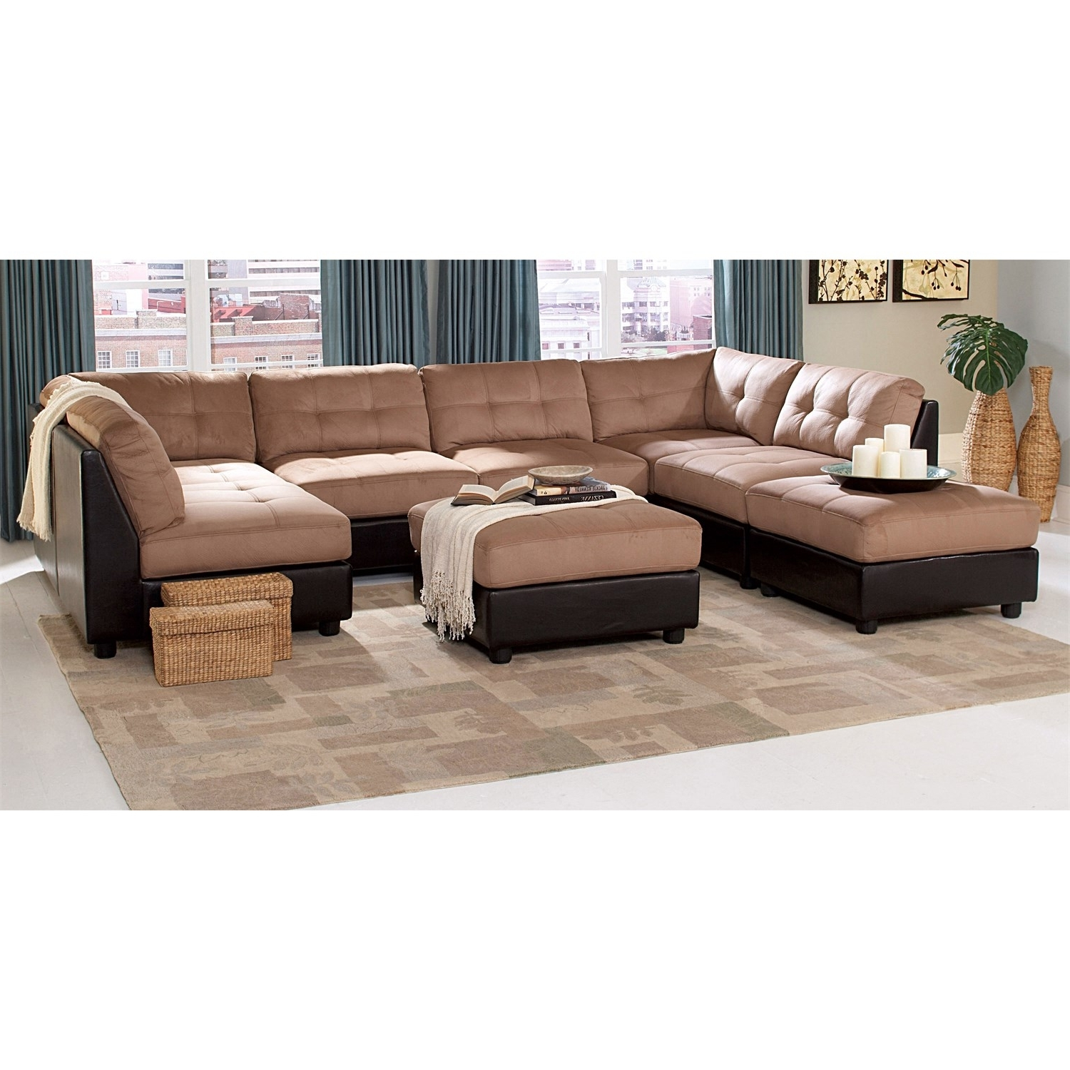 Newest Coaster Furniture 551001/4 551002/2 Claude 6 Piece Brown Sectional In Macon Ga Sectional Sofas (View 11 of 15)