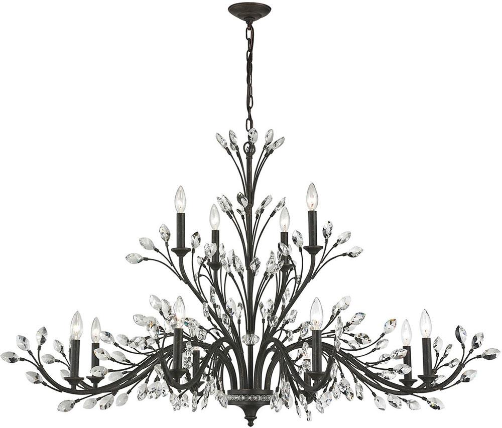 Newest Elk 11777-8-4 Crystal Branches Burnt Bronze Chandelier Lamp - Elk throughout Branch Crystal Chandelier