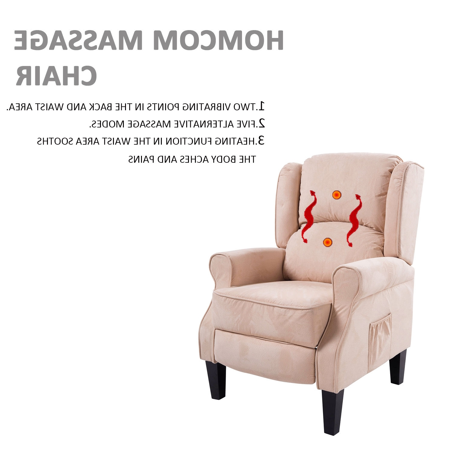 Newest Ergonomic Sofas And Chairs Regarding Ergonomic Massage Recliner Sofa Chair Heated Lounge Suede W (View 12 of 15)