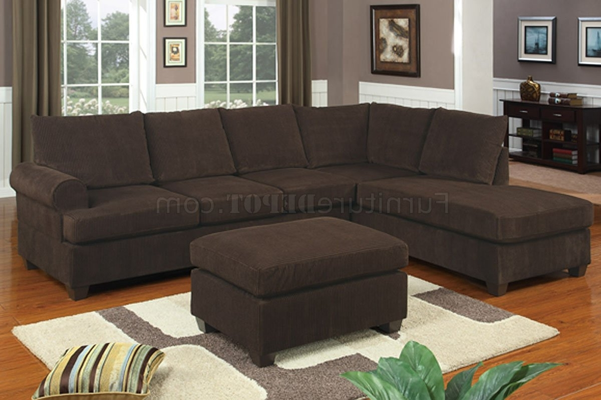 Newest F7135 Chocolate Corduroy Reversible Tufted Sectionalpoundex With Regard To Sectional Sofas Under  (View 7 of 15)