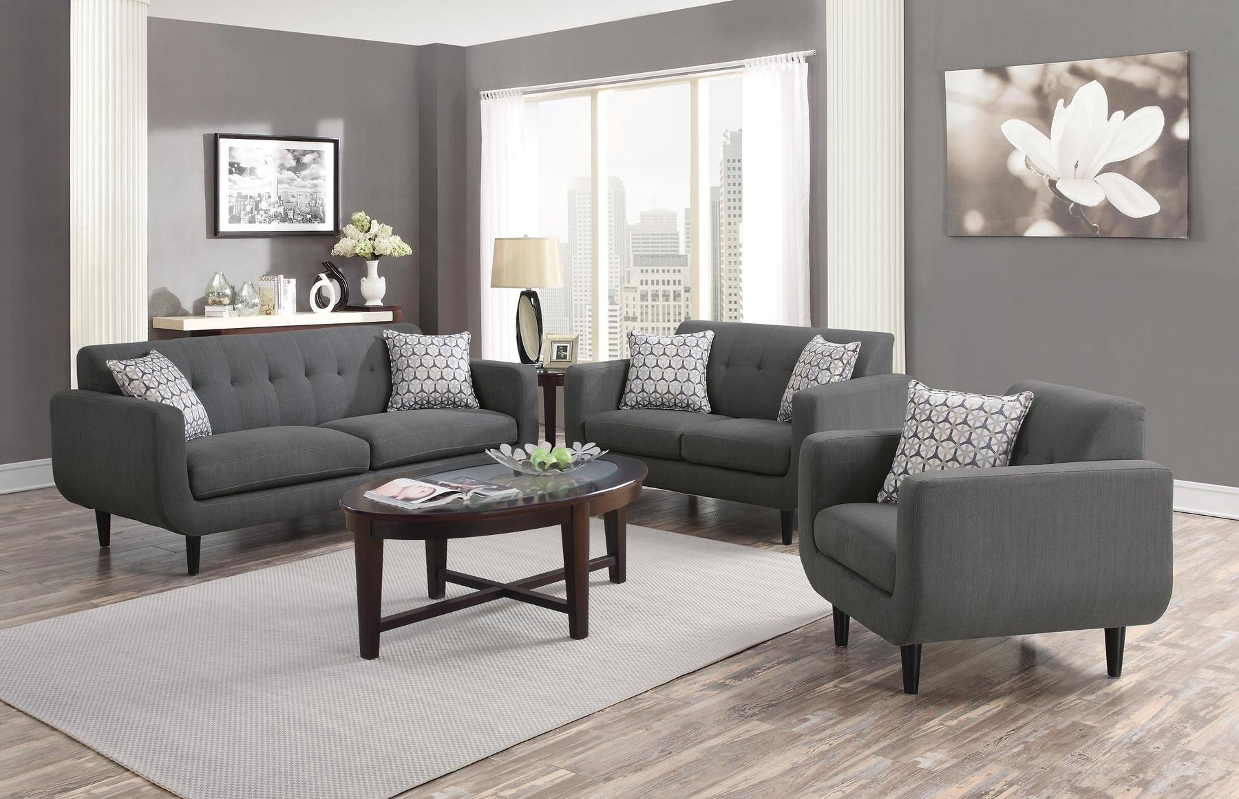 Newest Fabric Sofas Inside Stansall Gray Sofa 505201 Coaster Furniture Fabric Sofas At (View 7 of 15)