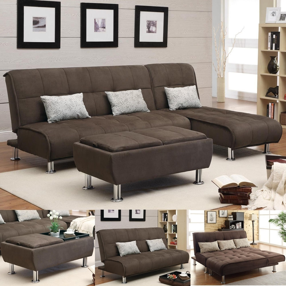 Newest Futons With Chaise Pertaining To Brown Microfiber 3 Pc Sectional Sofa Futon Couch Chaise Bed (View 4 of 15)