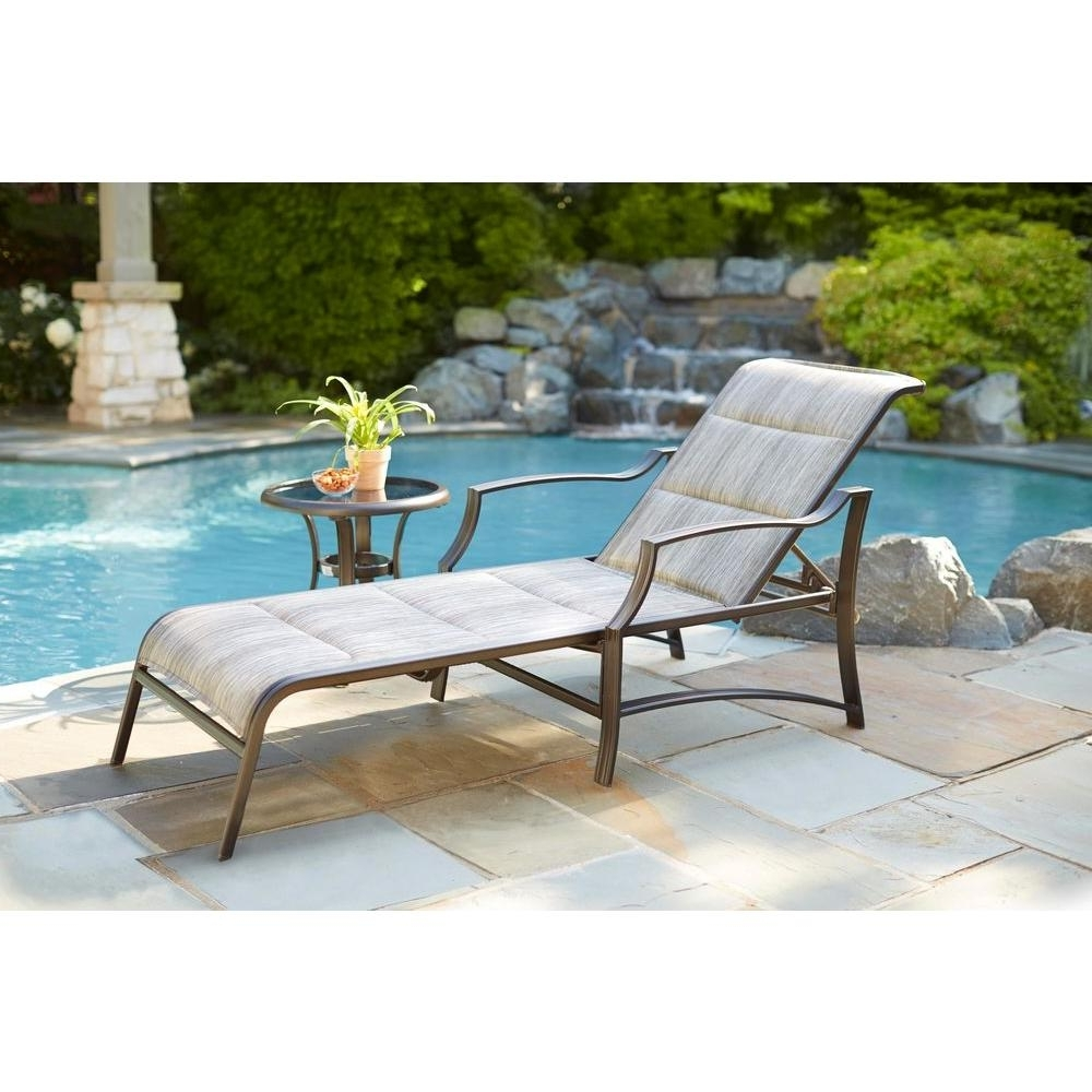 Newest Hampton Bay Statesville Padded Patio Chaise Lounge Fls70310 – The Regarding Teal Chaise Lounges (View 8 of 15)