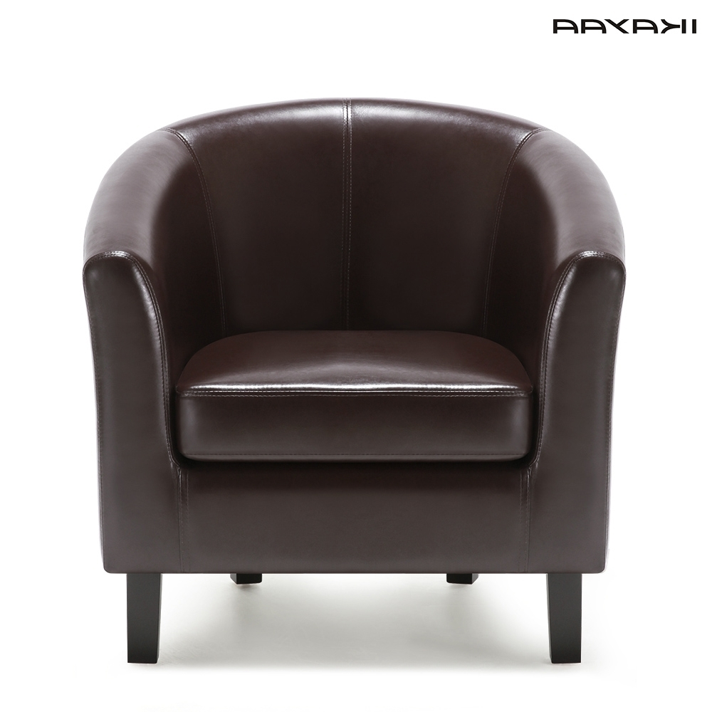Newest Ikayaa Us Fr Stock Chair Pu Leather Barrel Tub Chair Armchair Inside Single Seat Sofa Chairs (View 9 of 15)