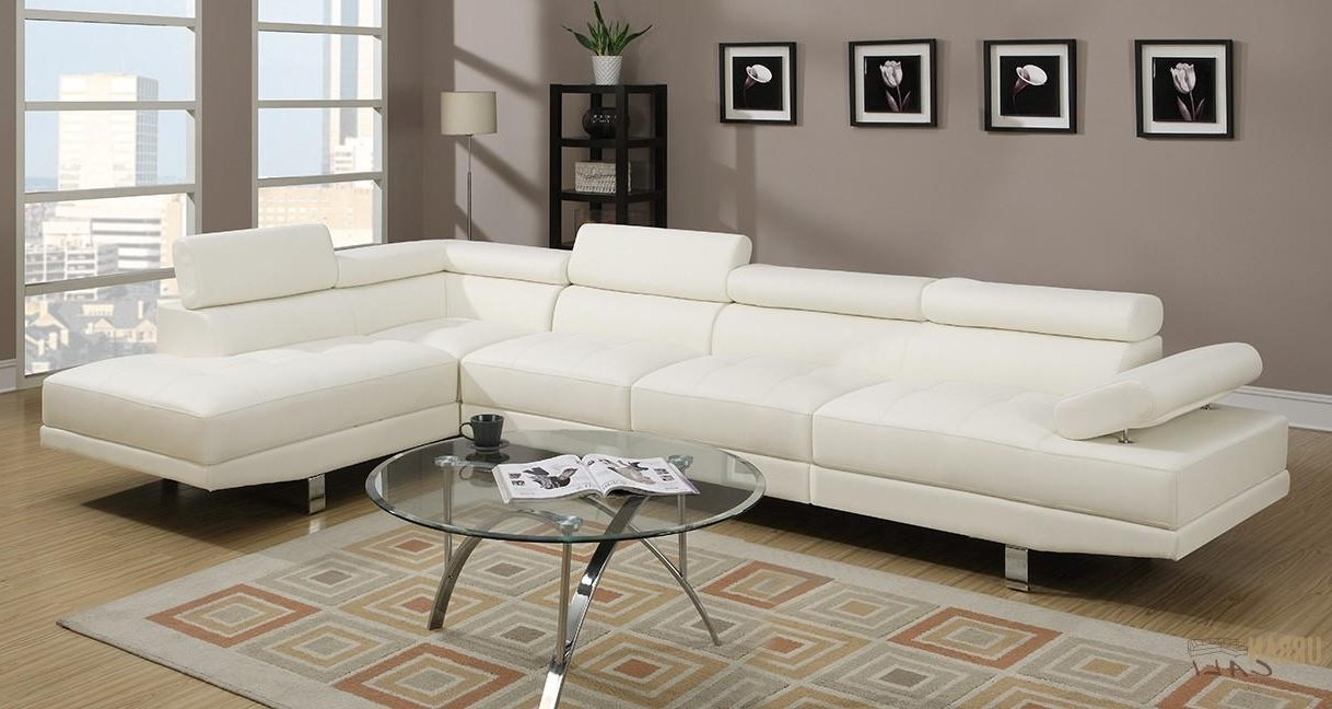 Newest Kelowna Bc Sectional Sofas Throughout Hollywood White Faux Leather Adjustable Sectional Sofa With (View 10 of 15)