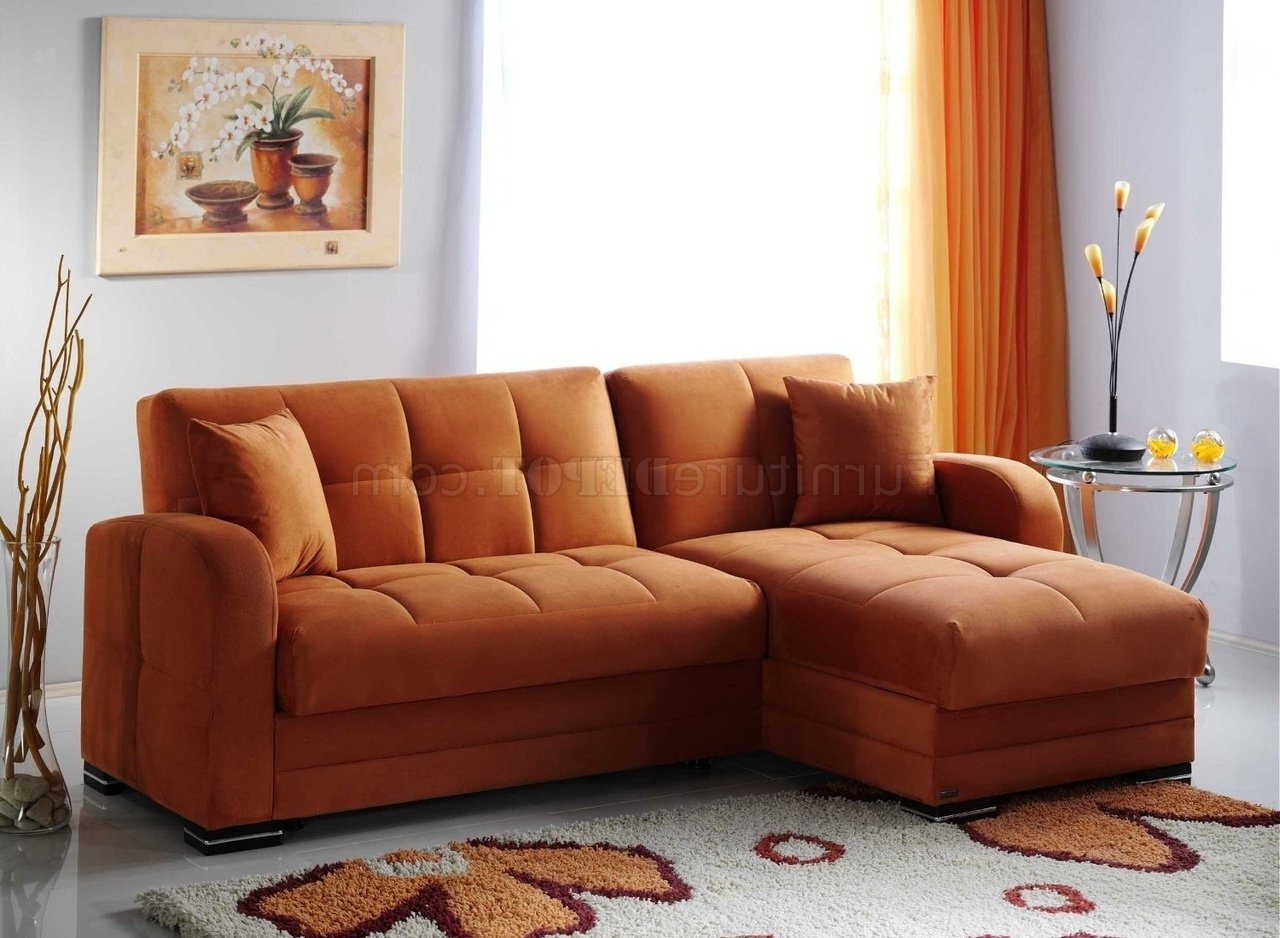 Newest Kubo Sectional Sofa Bed In Rainbow Orange Fabricsunset Regarding Hawaii Sectional Sofas (View 14 of 15)
