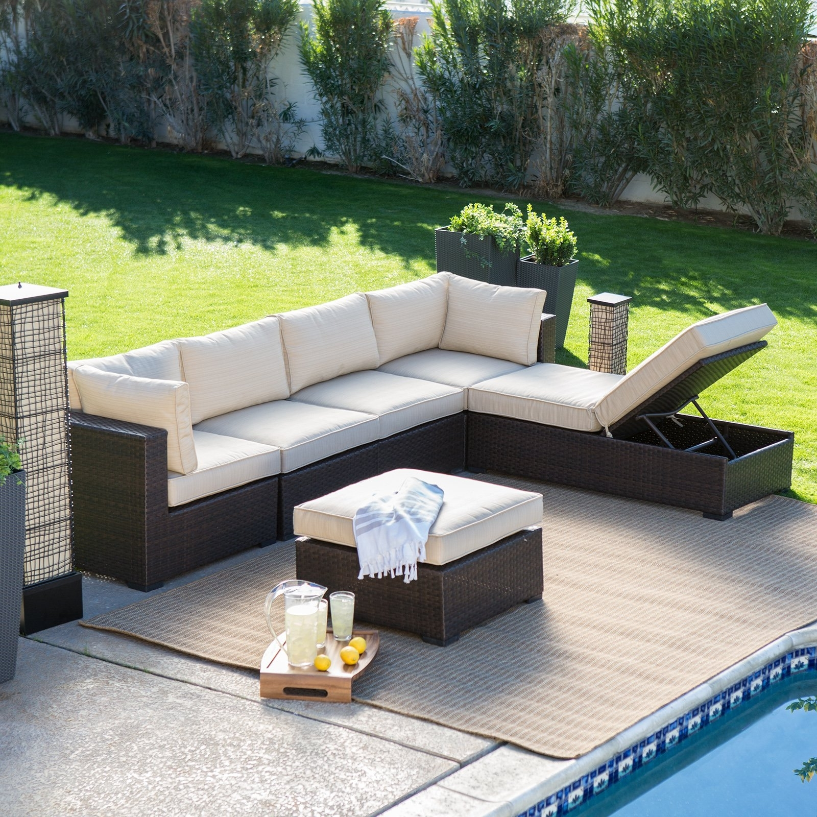 Newest Outdoor Sofa Chairs For Belham Living Marcella All Weather Outdoor Wicker 6 Piece (View 4 of 15)