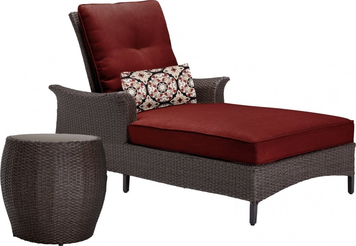 Newest Outdoor Wicker Chaise Lounges Within Hanover Gramercy Outdoor Chaise Lounge Chair And Table Set (View 10 of 15)