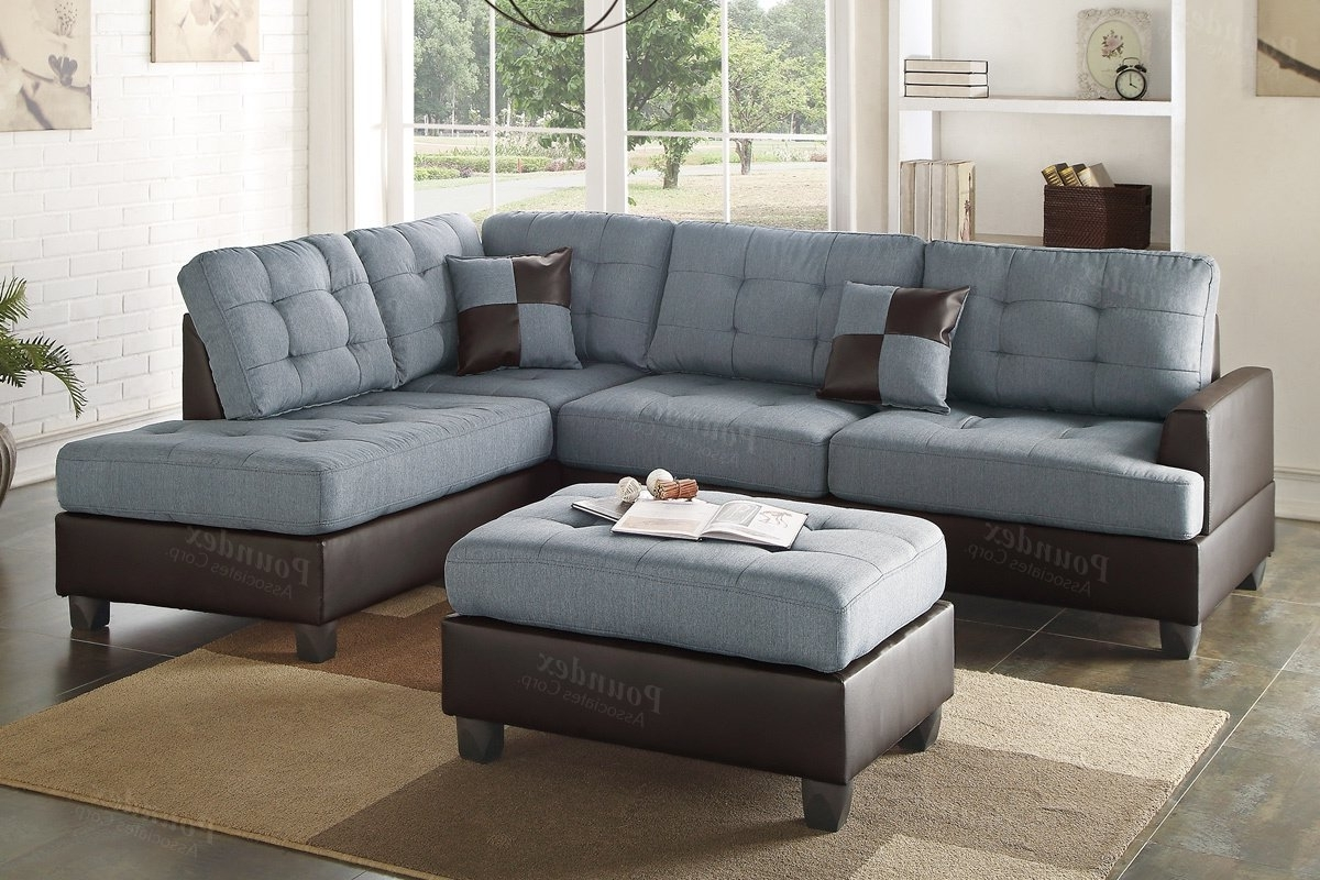 Newest Poundex Bobkona Matthew Reversible Sectional With Ottoman Pertaining To Sectionals With Ottoman (View 10 of 15)