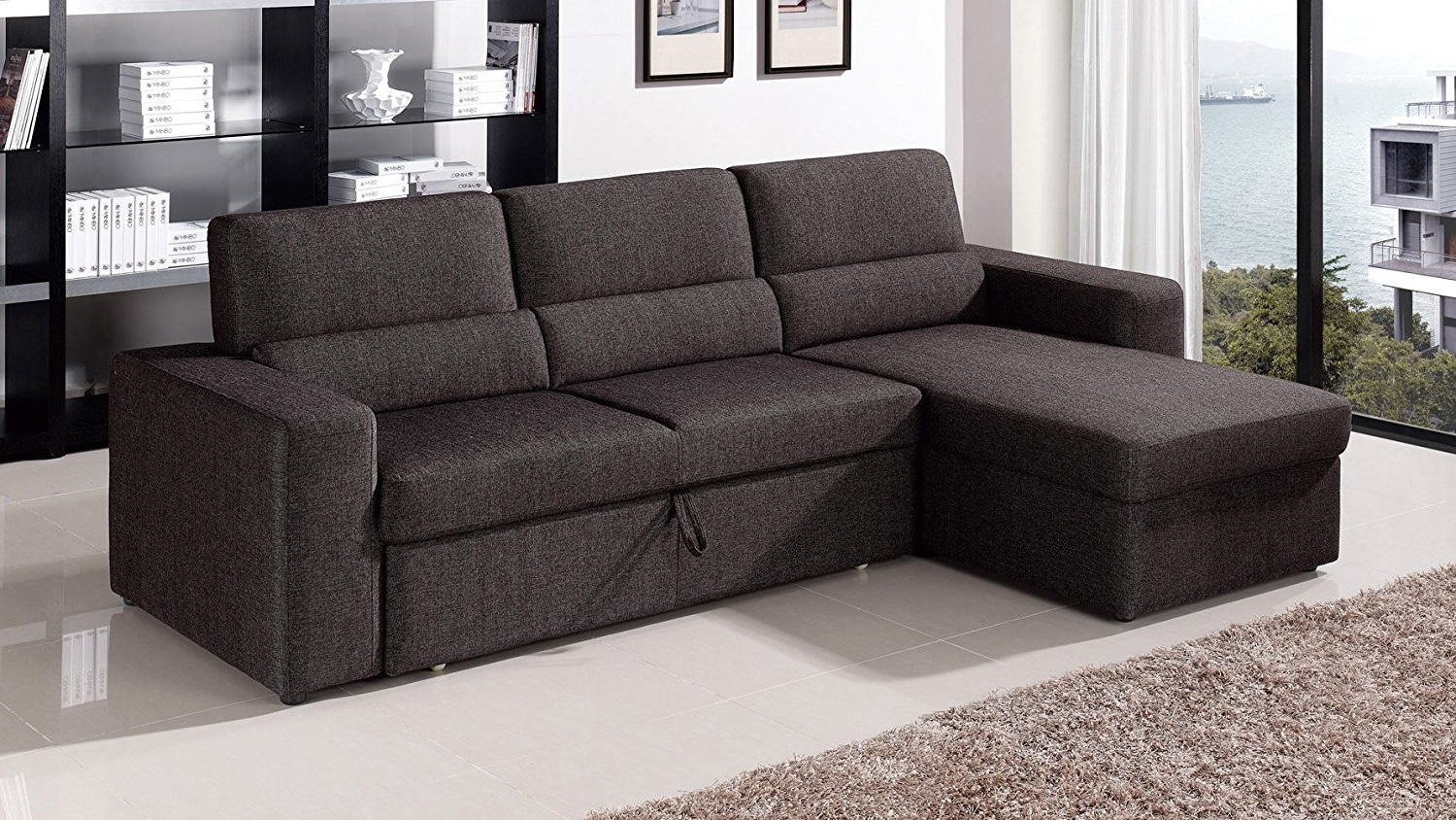 Newest Sectional Sofas At Amazon Within Amazon: Black/brown Clubber Sleeper Sectional Sofa – Right (View 6 of 15)