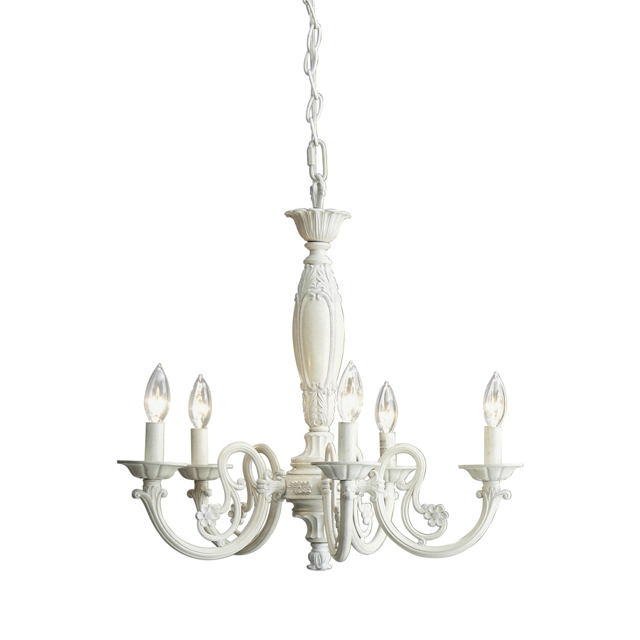 Newest Shop Style Selections 22 In 5 Light Antique White Standard Within Antique Style Chandeliers (View 10 of 15)
