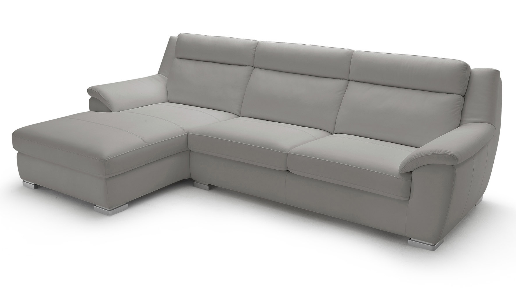 Newest Sleeper Chaise Sofas Pertaining To Manor Light Grey Top Grain Leather Sofa Sleeper Sectional With (View 12 of 15)