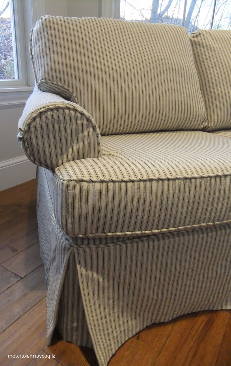 Newest Sleeper Sofa Slipcover In Ticking Stripe (View 7 of 15)