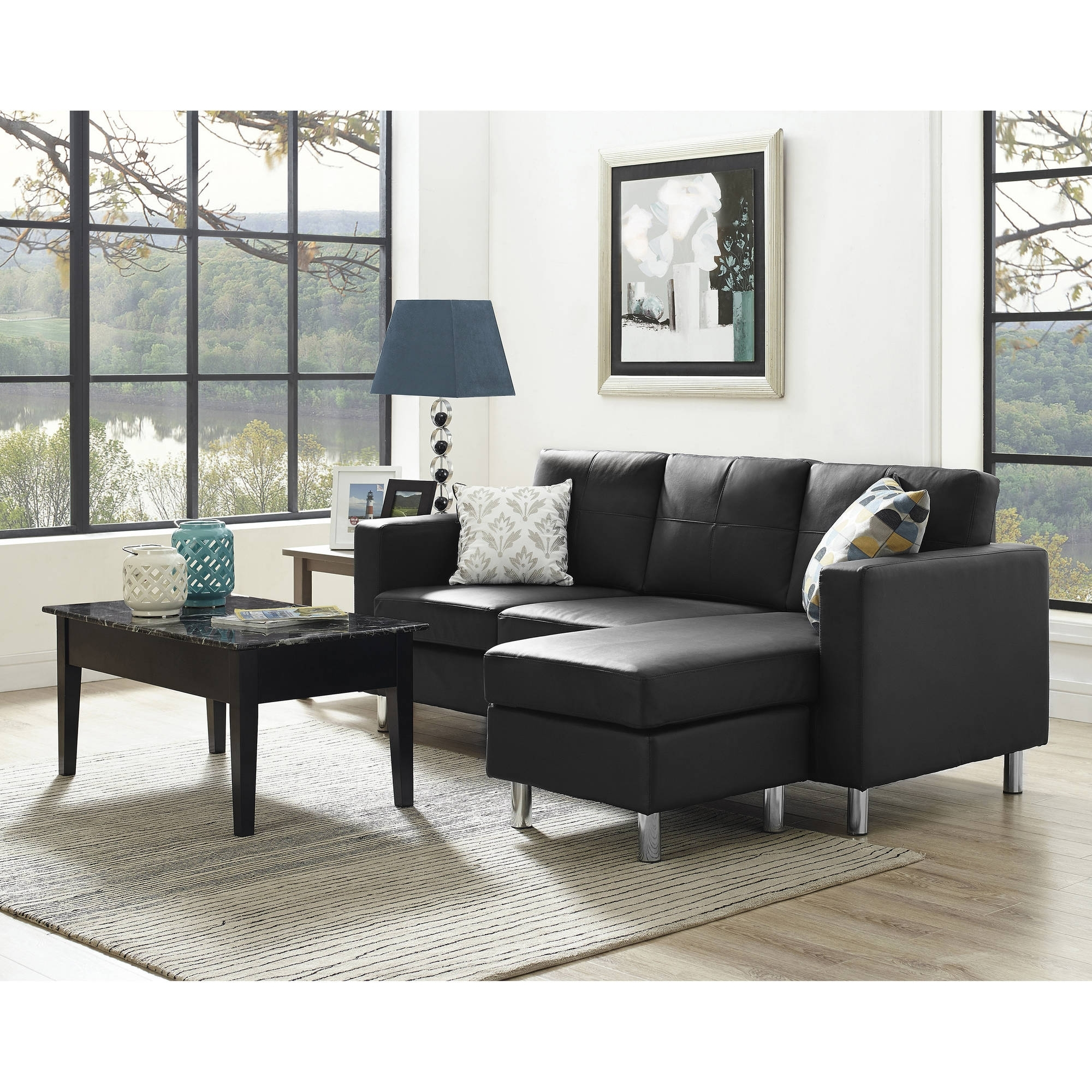 Newest Small Sectional Sofas With Chaise And Ottoman Within Dorel Living Small Spaces Configurable Sectional Sofa, Multiple (View 3 of 15)