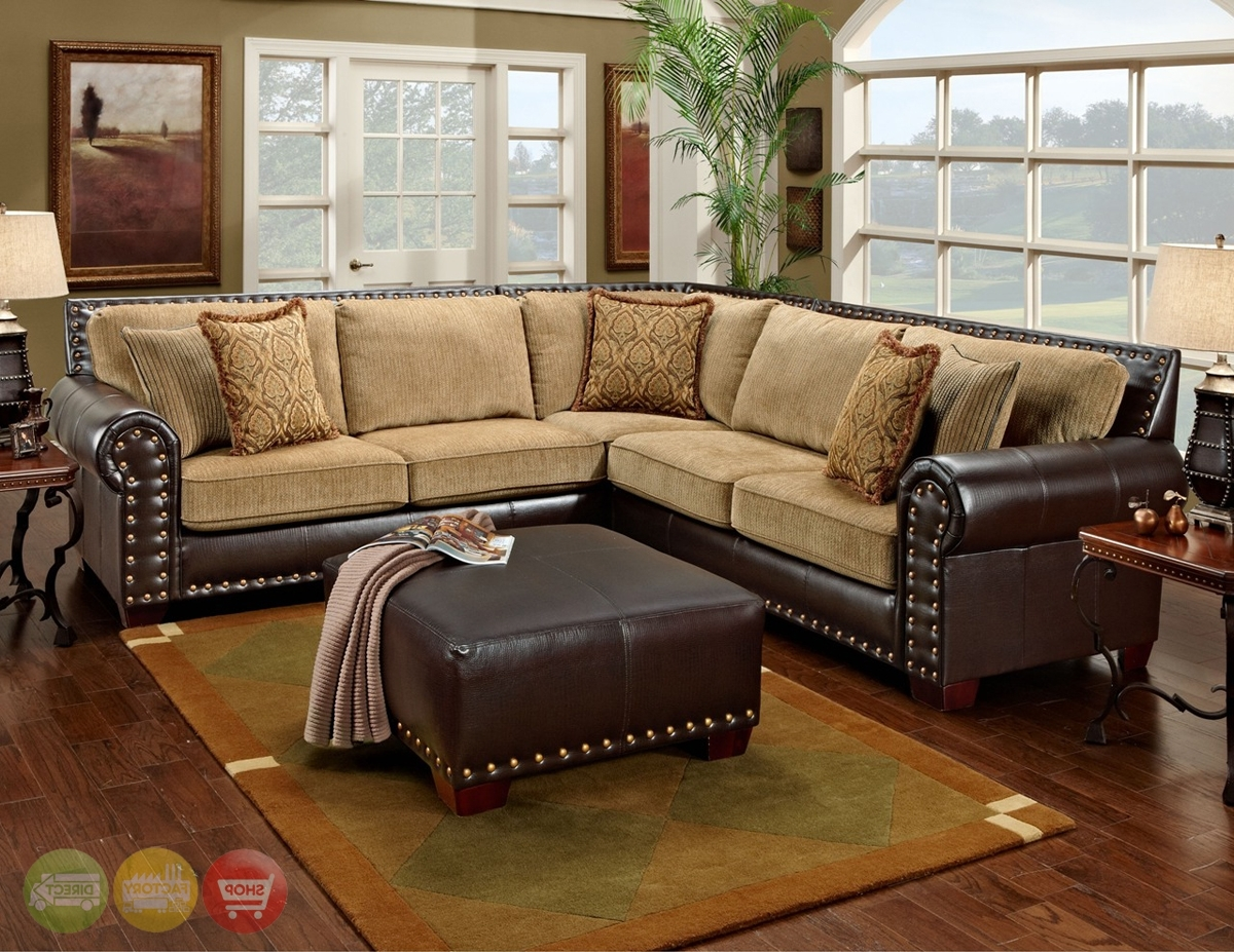 Newest Traditional Brown & Tan Sectional Sofa W/ Nailhead Accents 650 17 Throughout Sectional Sofas With Nailheads (View 7 of 15)