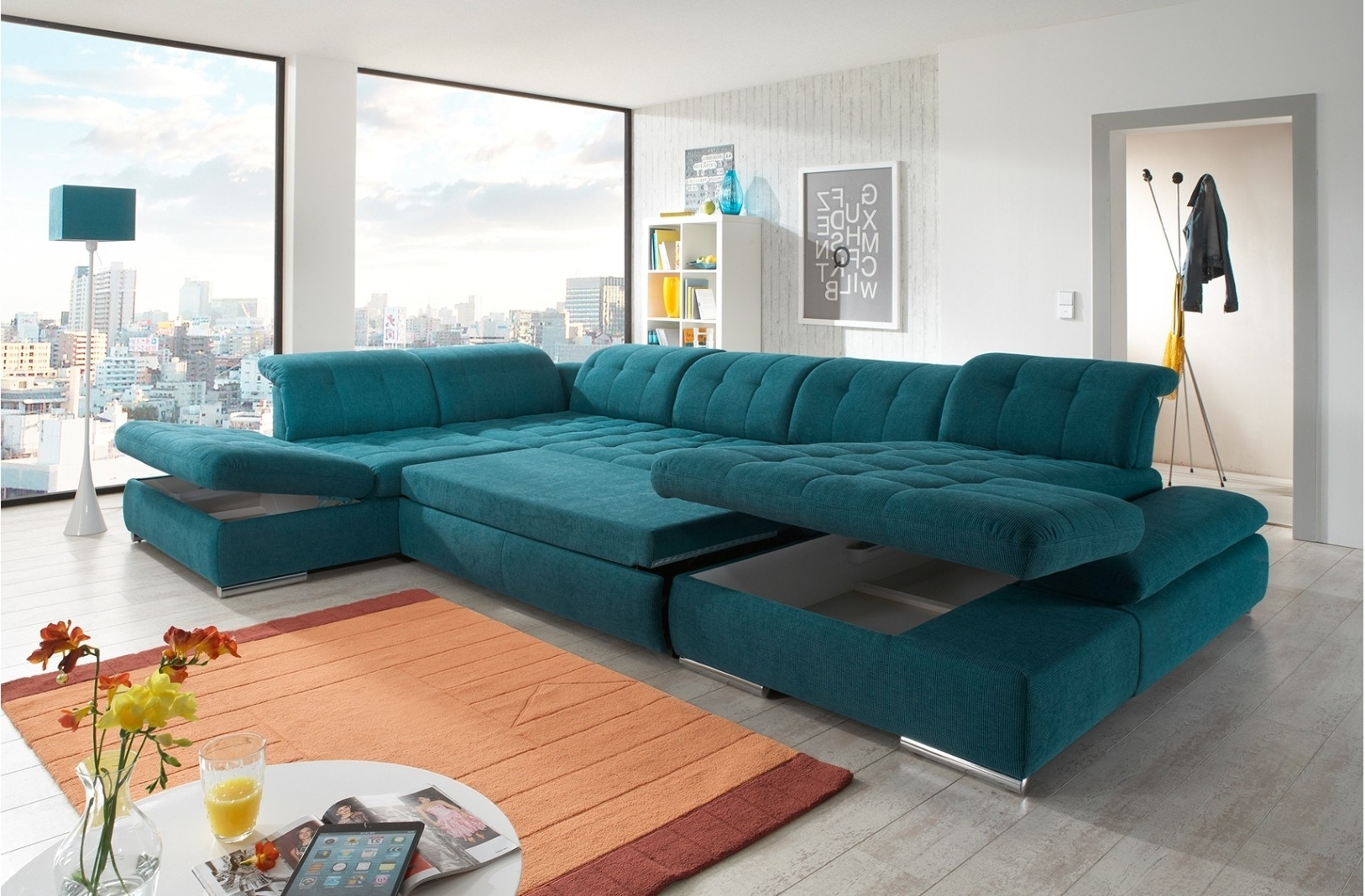 Newest Trinidad And Tobago Sectional Sofas For Alpine Sectional Sofa In Green Fabric (View 4 of 15)