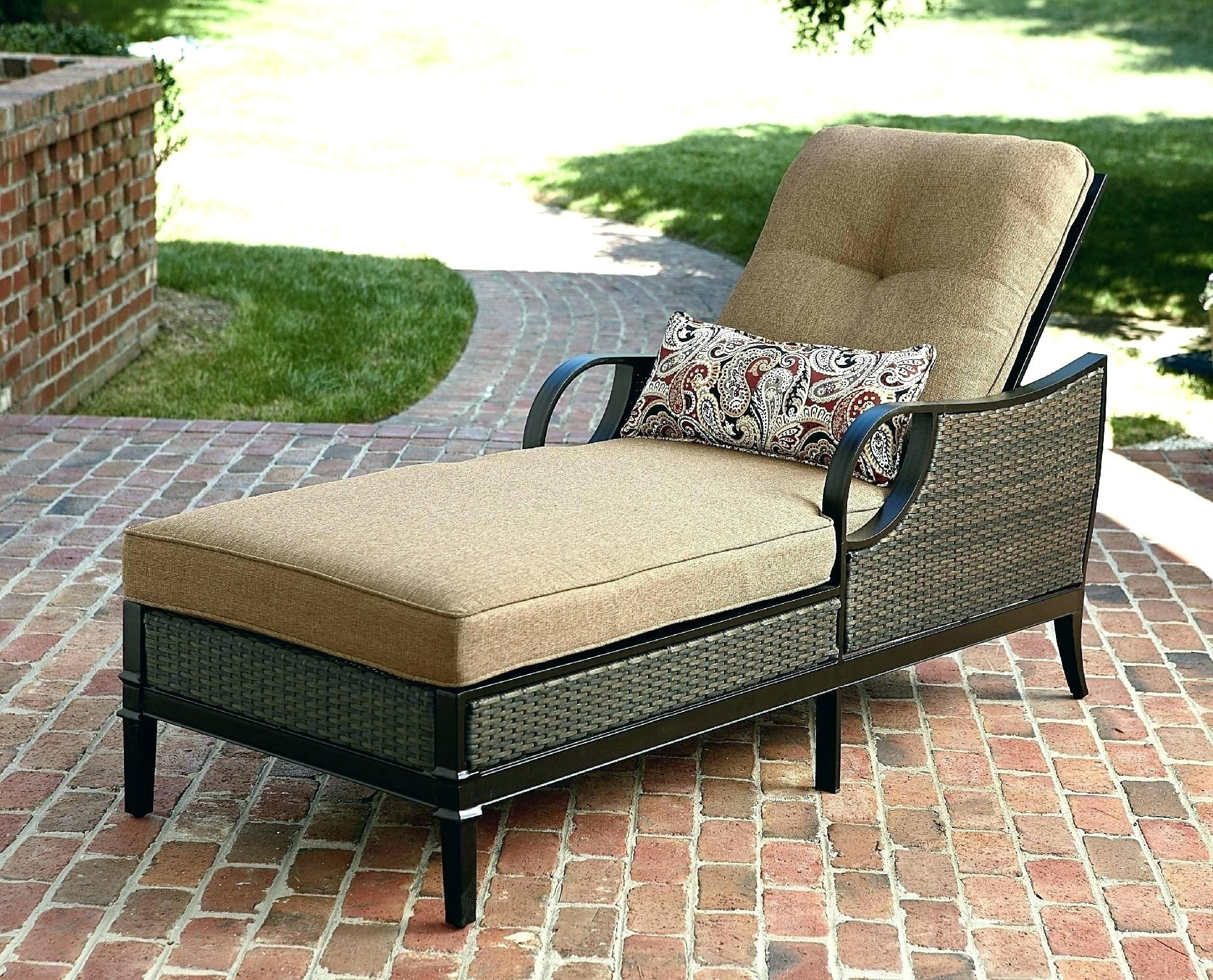 Newest Walmart Chaise Lounge Cushions With Regard To Walmart Chaise Lounge Cushions S Outdoor Double Cushion Patio (View 8 of 15)