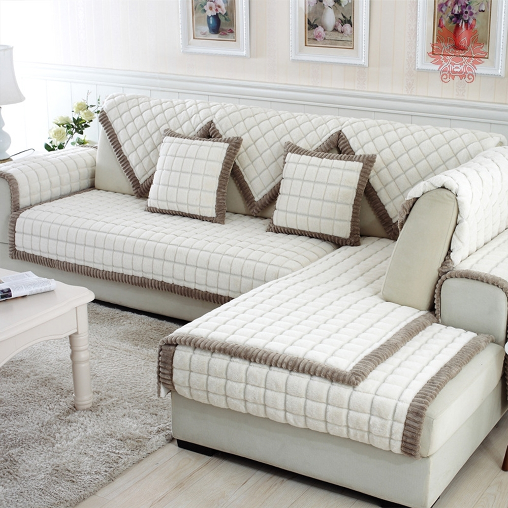 Newest White Grey Plaid Plush Long Fur Sofa Cover Slipcovers Fundas De With Sectional Sofas With Covers (View 7 of 15)